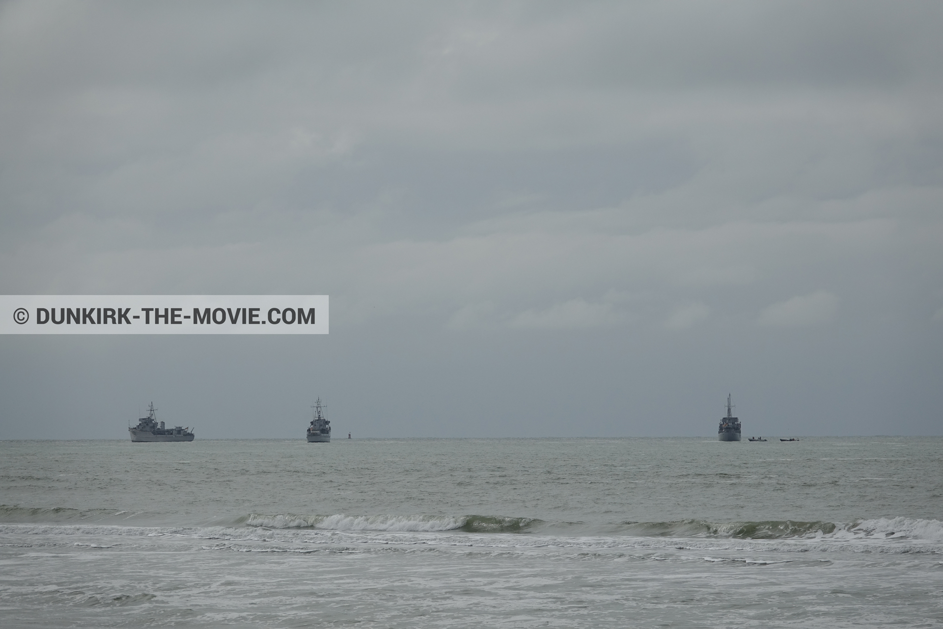 Picture with boat, cloudy sky,  from behind the scene of the Dunkirk movie by Nolan