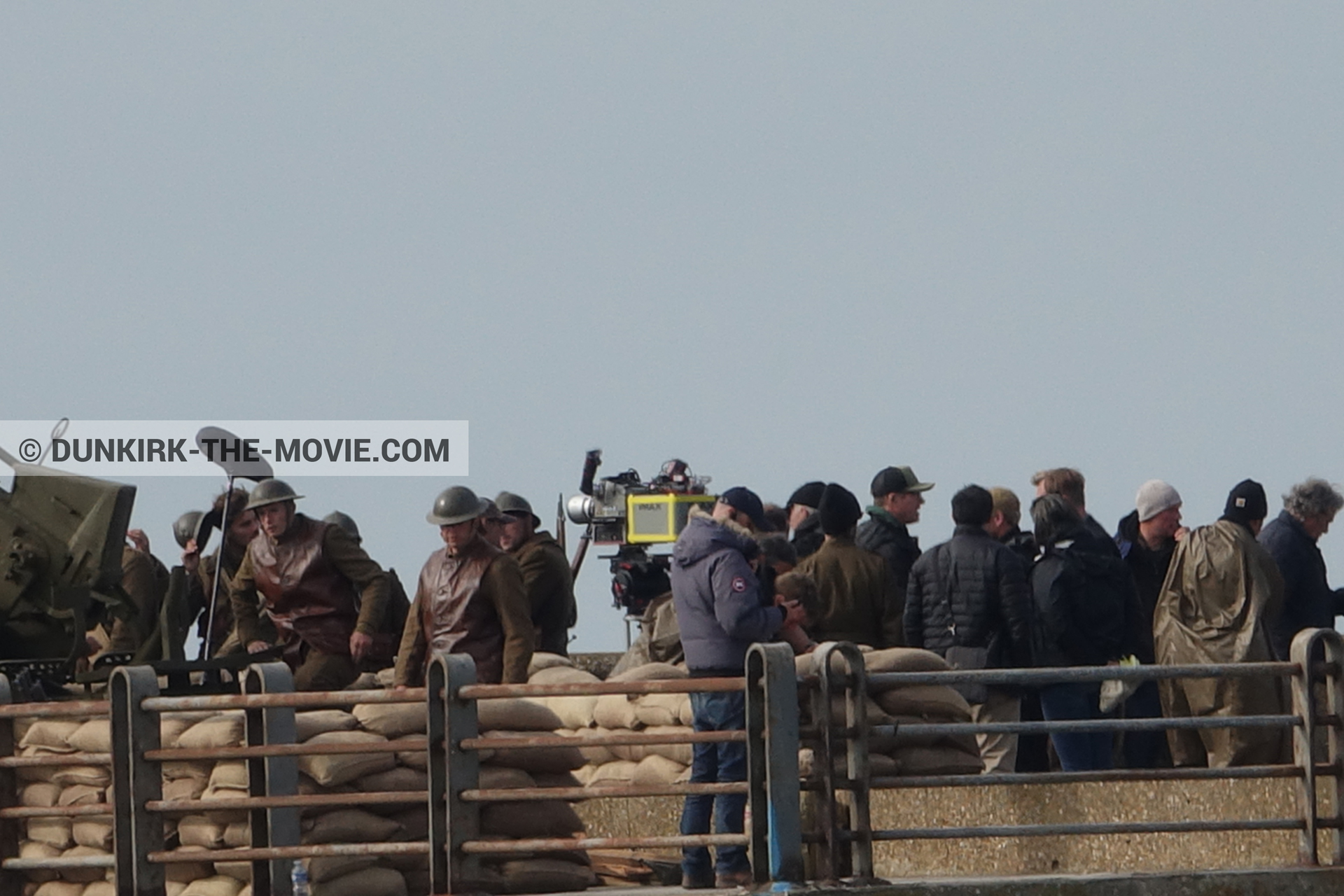 Picture with IMAX camera, supernumeraries, EST pier, Christopher Nolan,  from behind the scene of the Dunkirk movie by Nolan