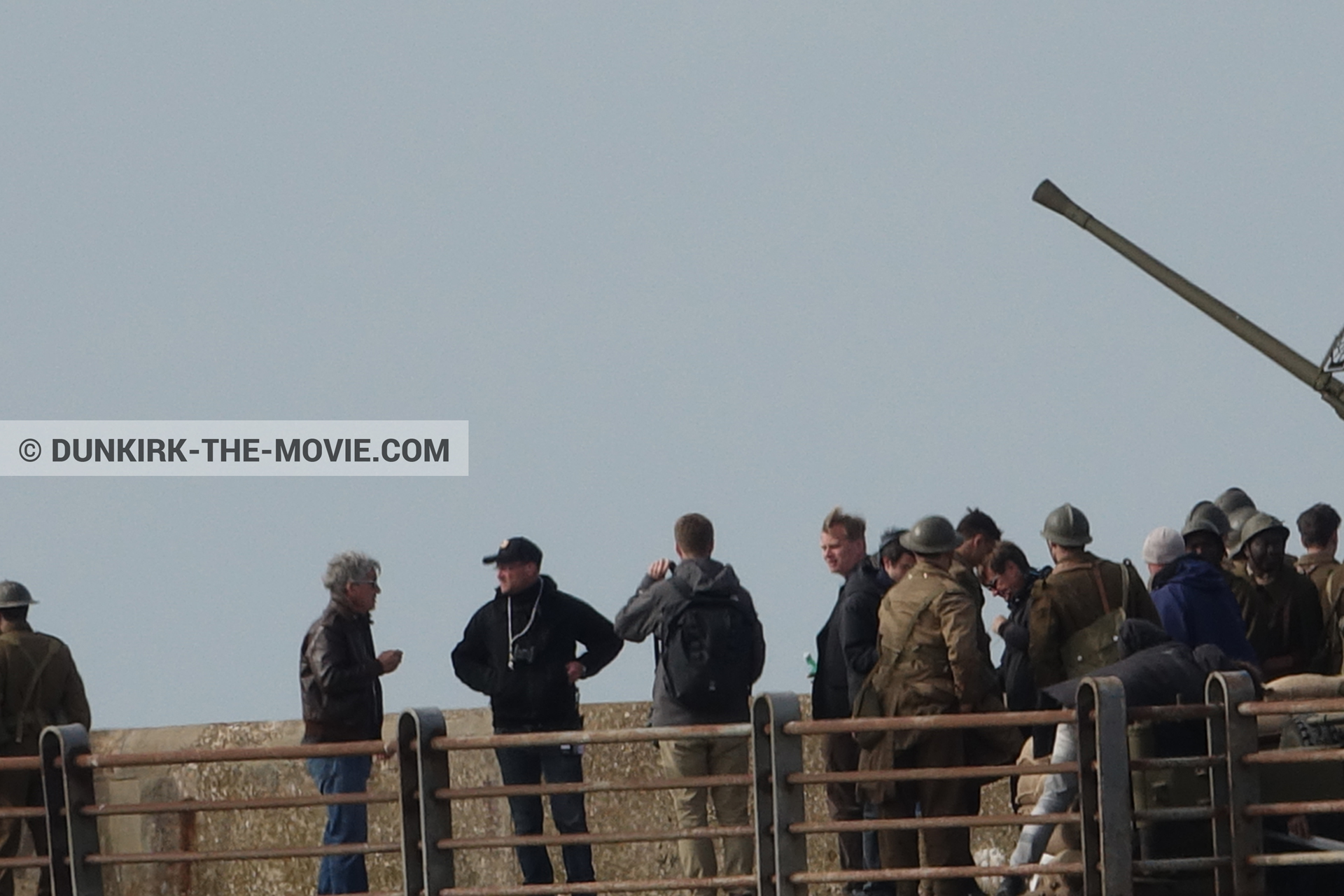 Picture with cannon, supernumeraries, EST pier, Christopher Nolan, Nilo Otero,  from behind the scene of the Dunkirk movie by Nolan
