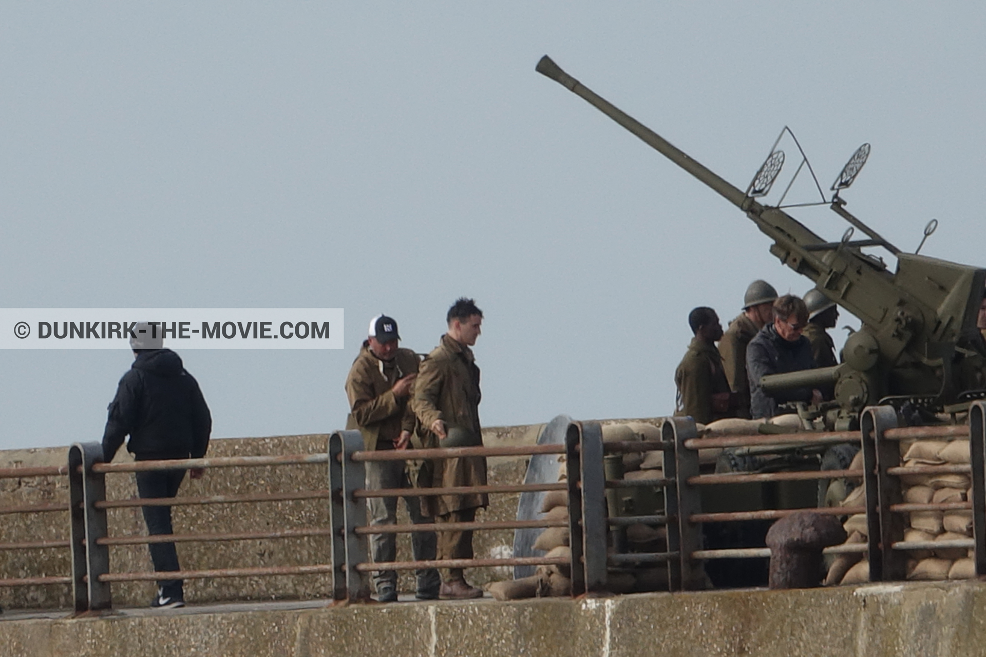 Picture with cannon, supernumeraries, EST pier,  from behind the scene of the Dunkirk movie by Nolan