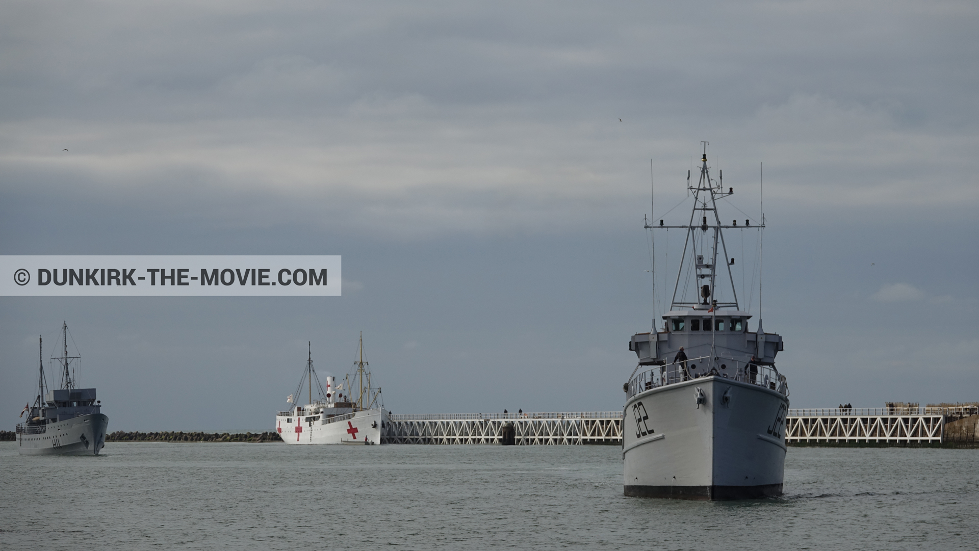 Picture with boat, cloudy sky, H11 - MLV Castor, J22 -Hr.Ms. Naaldwijk, EST pier, calm sea, M/S Rogaland,  from behind the scene of the Dunkirk movie by Nolan
