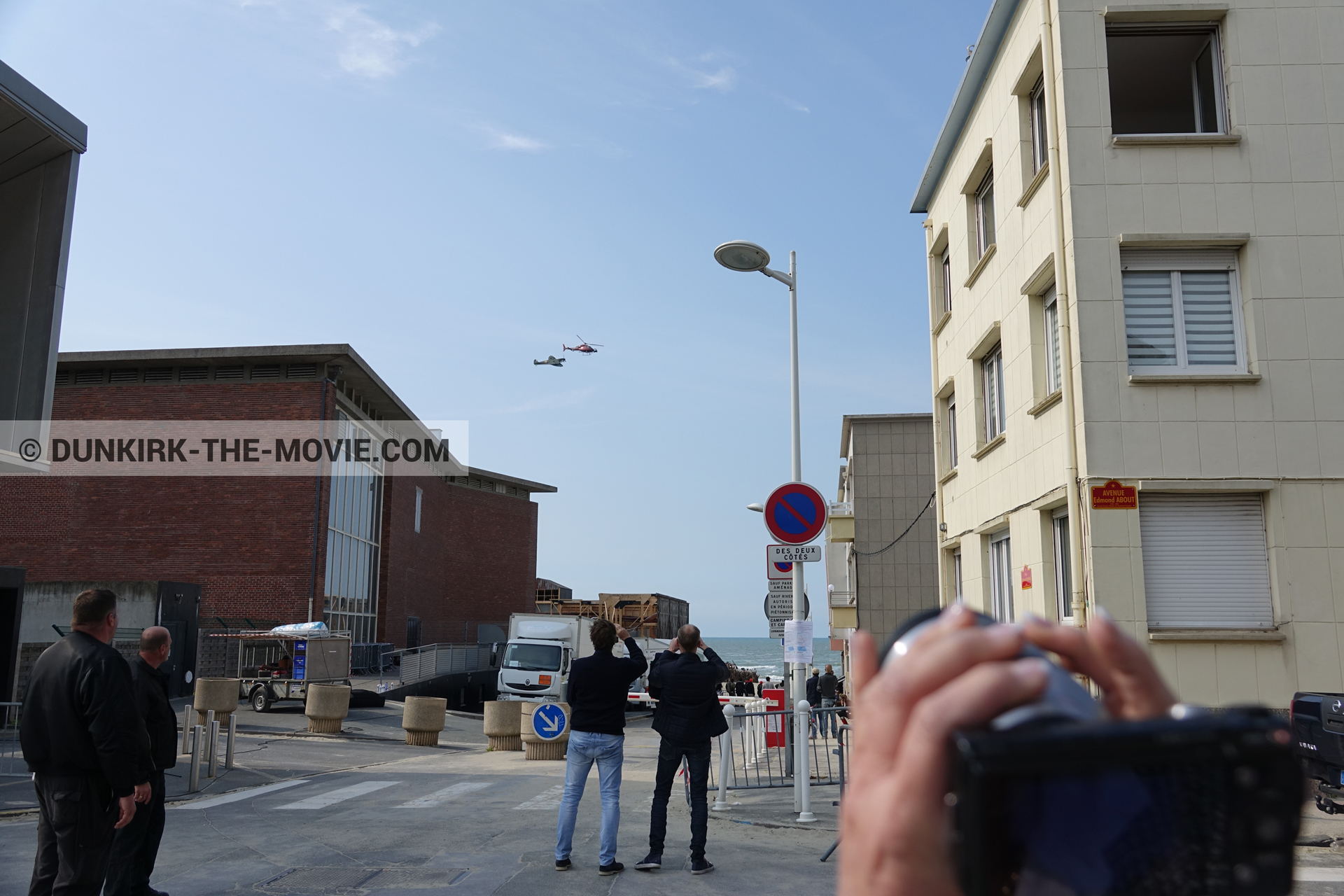Picture with plane, helicopter camera, Malo les Bains,  from behind the scene of the Dunkirk movie by Nolan