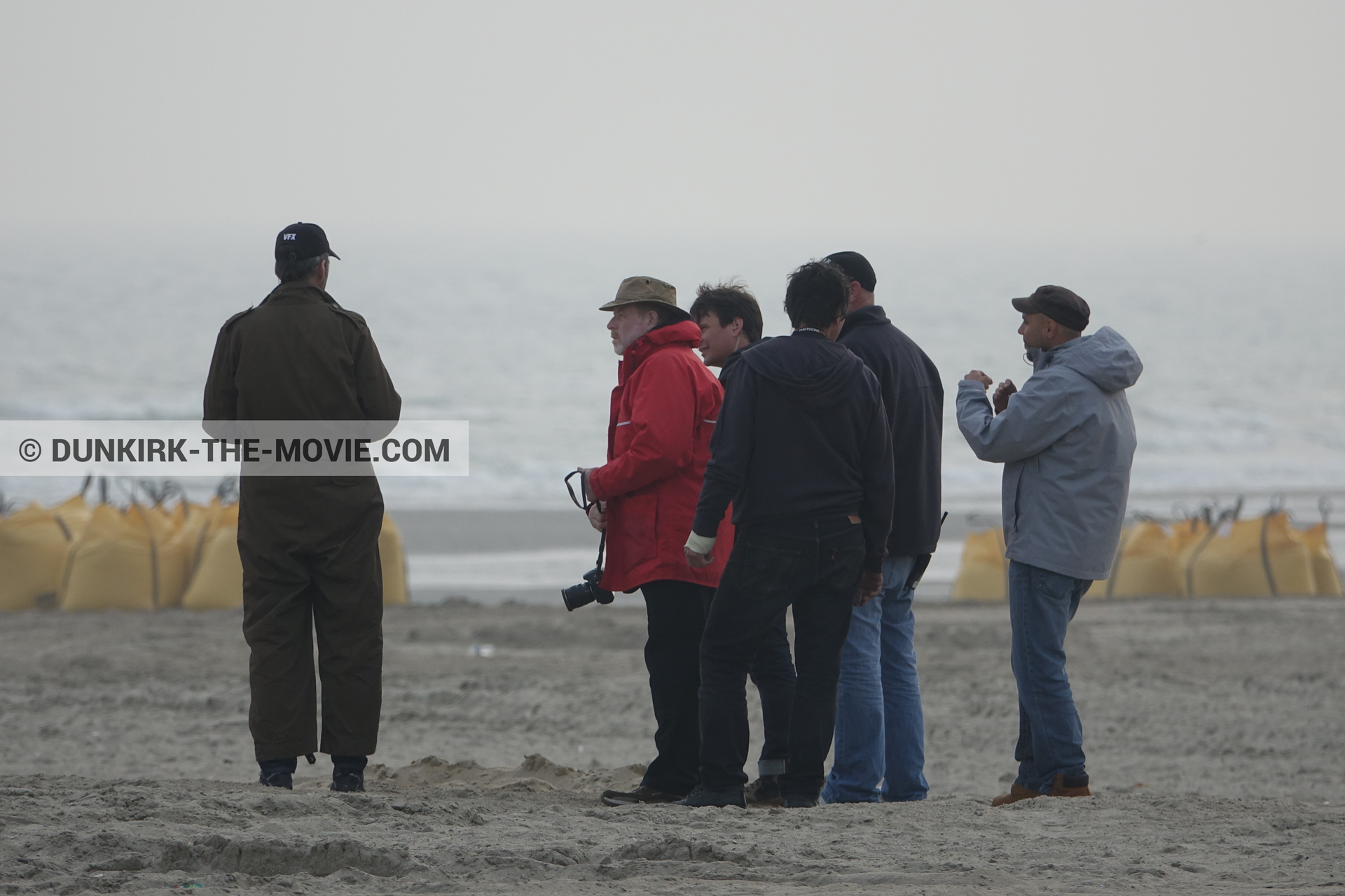 Picture with beach, technical team,  from behind the scene of the Dunkirk movie by Nolan