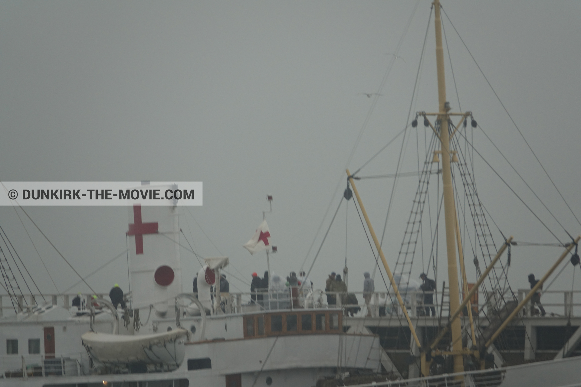 Picture with grey sky, EST pier, technical team, M/S Rogaland,  from behind the scene of the Dunkirk movie by Nolan
