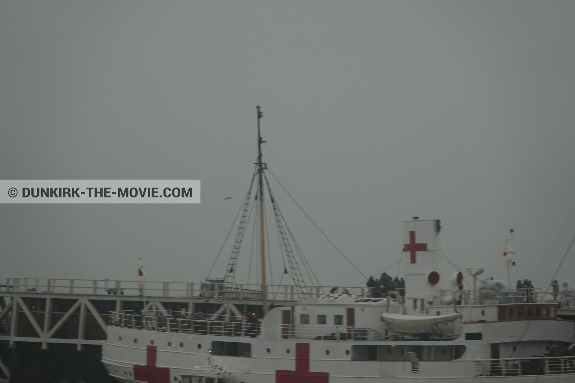 Picture with grey sky, EST pier, M/S Rogaland,  from behind the scene of the Dunkirk movie by Nolan