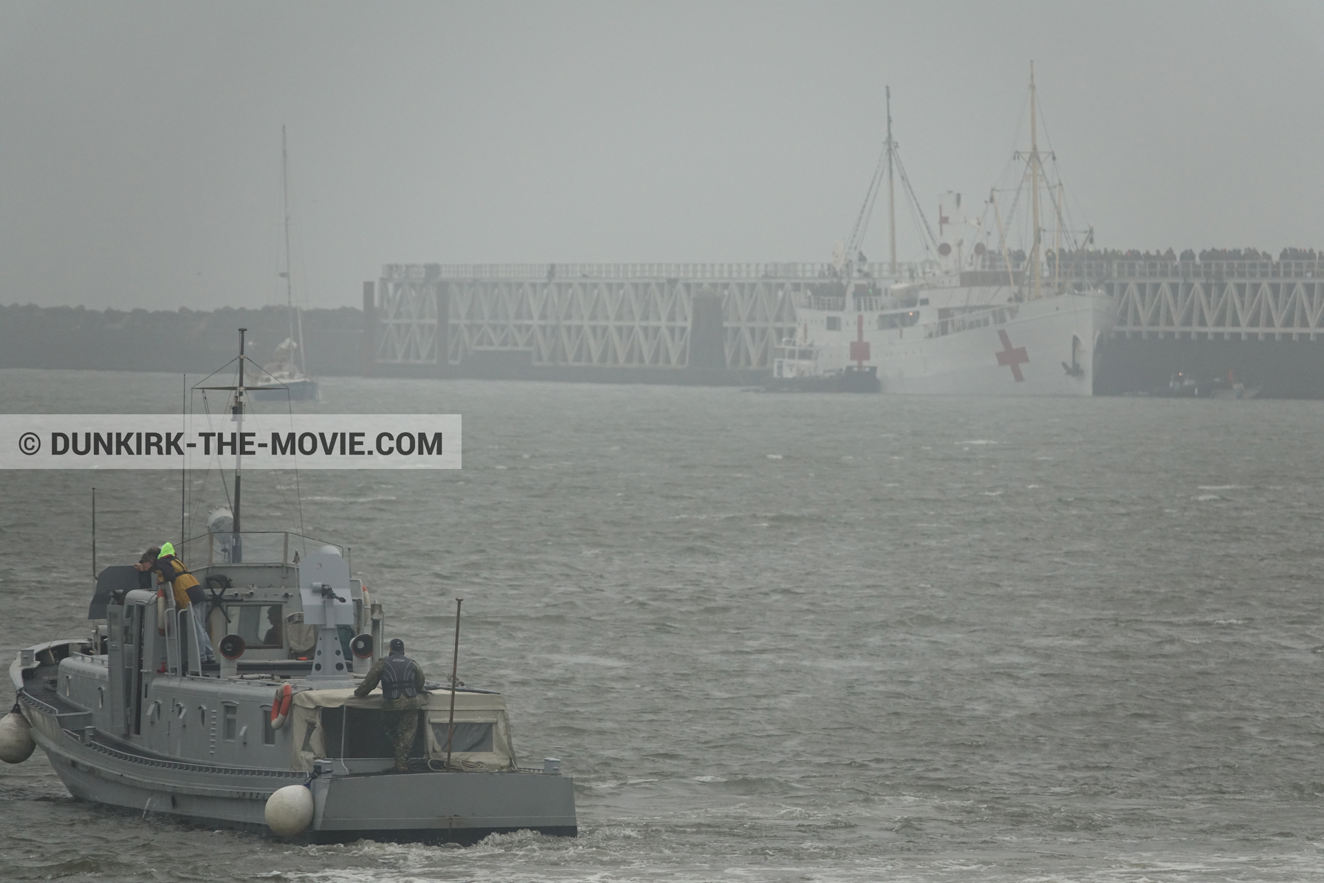 Picture with boat, grey sky, EST pier, M/S Rogaland, PR 22,  from behind the scene of the Dunkirk movie by Nolan
