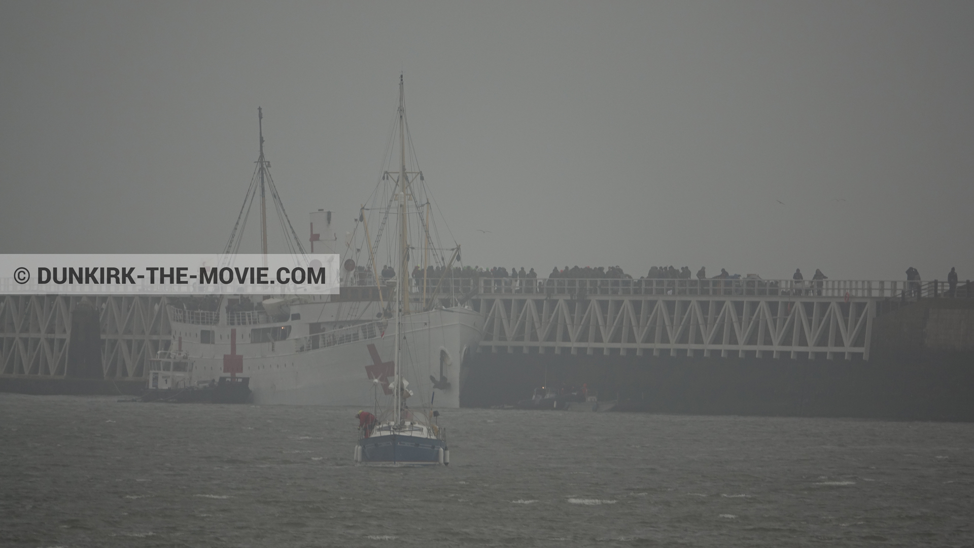 Picture with boat, grey sky, EST pier, M/S Rogaland,  from behind the scene of the Dunkirk movie by Nolan