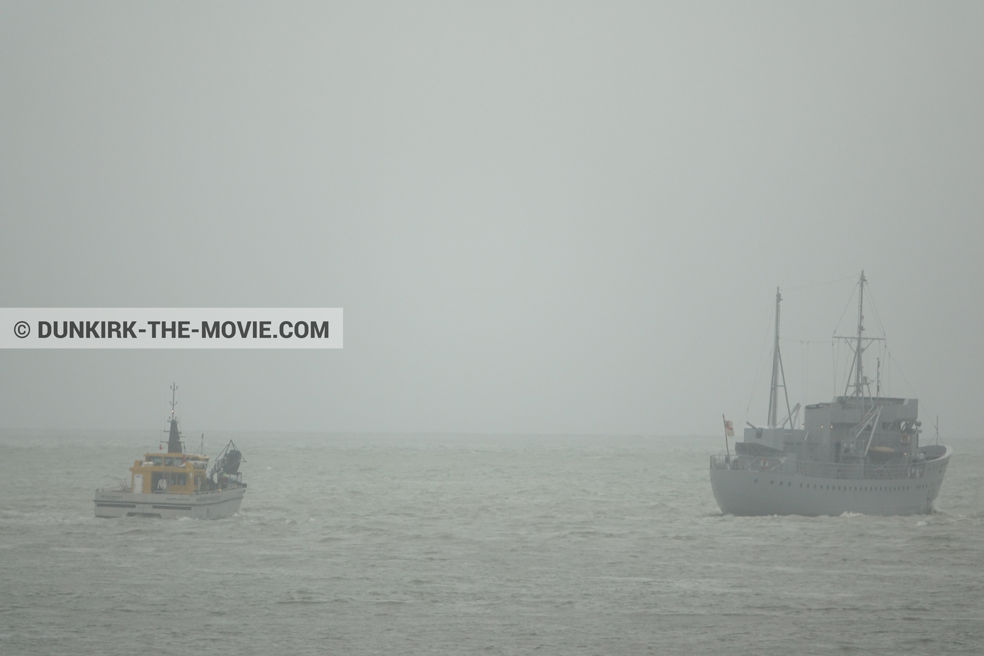 Picture with boat, grey sky, H11 - MLV Castor, calm sea, Ocean Wind 4,  from behind the scene of the Dunkirk movie by Nolan