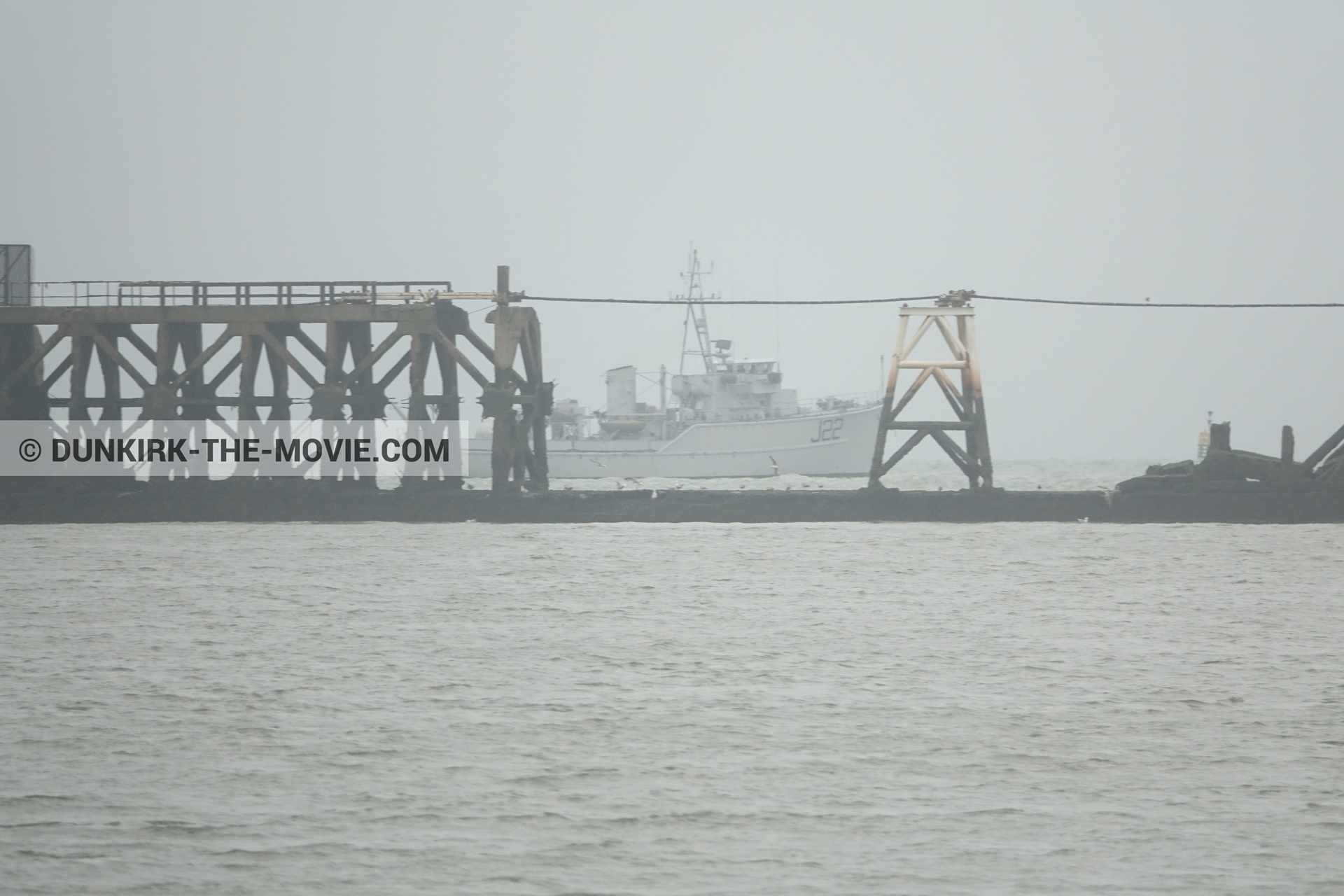 Picture with grey sky, J22 -Hr.Ms. Naaldwijk, calm sea,  from behind the scene of the Dunkirk movie by Nolan