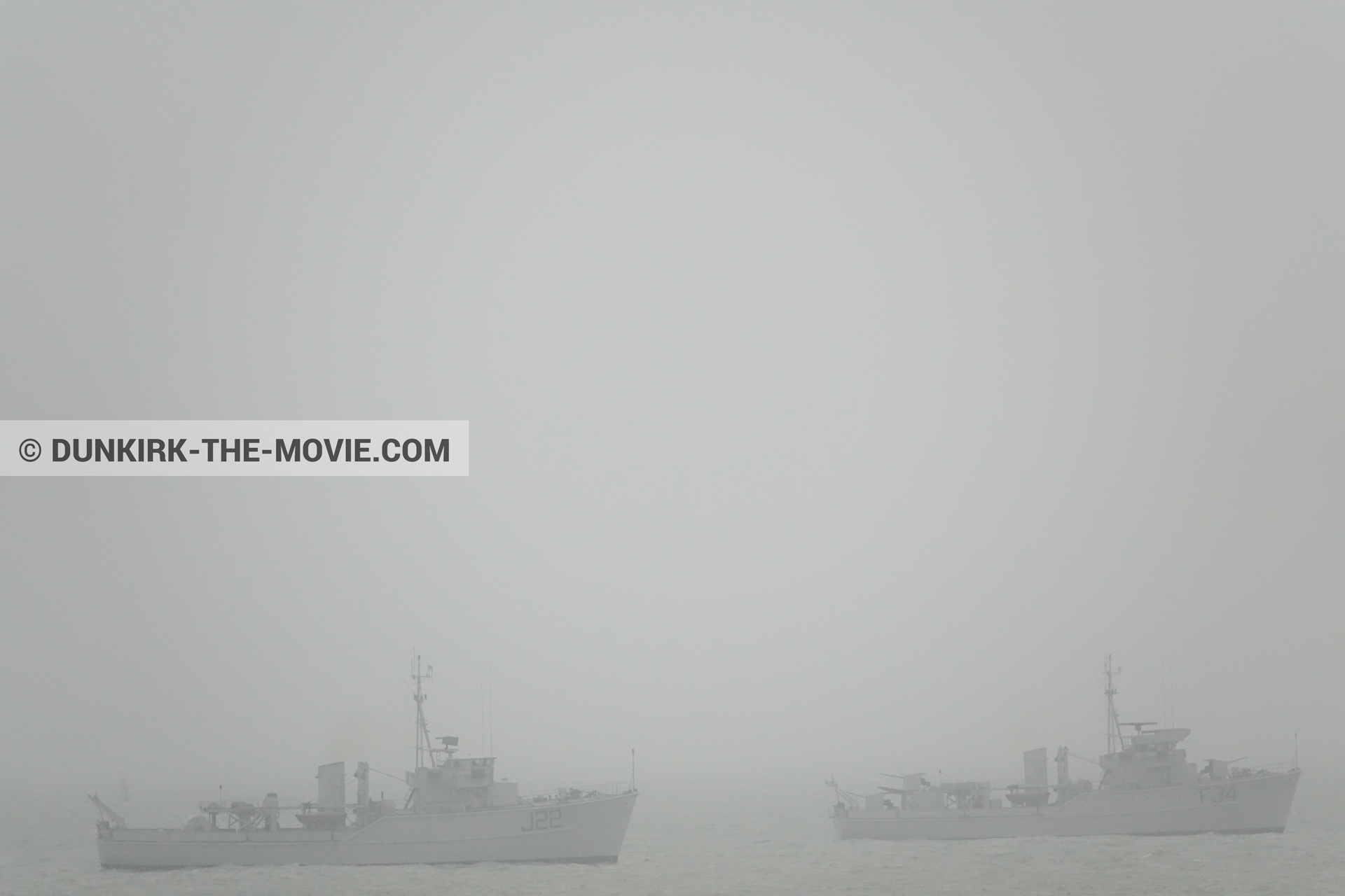 Picture with grey sky, F34 - Hr.Ms. Sittard, J22 -Hr.Ms. Naaldwijk, calm sea,  from behind the scene of the Dunkirk movie by Nolan