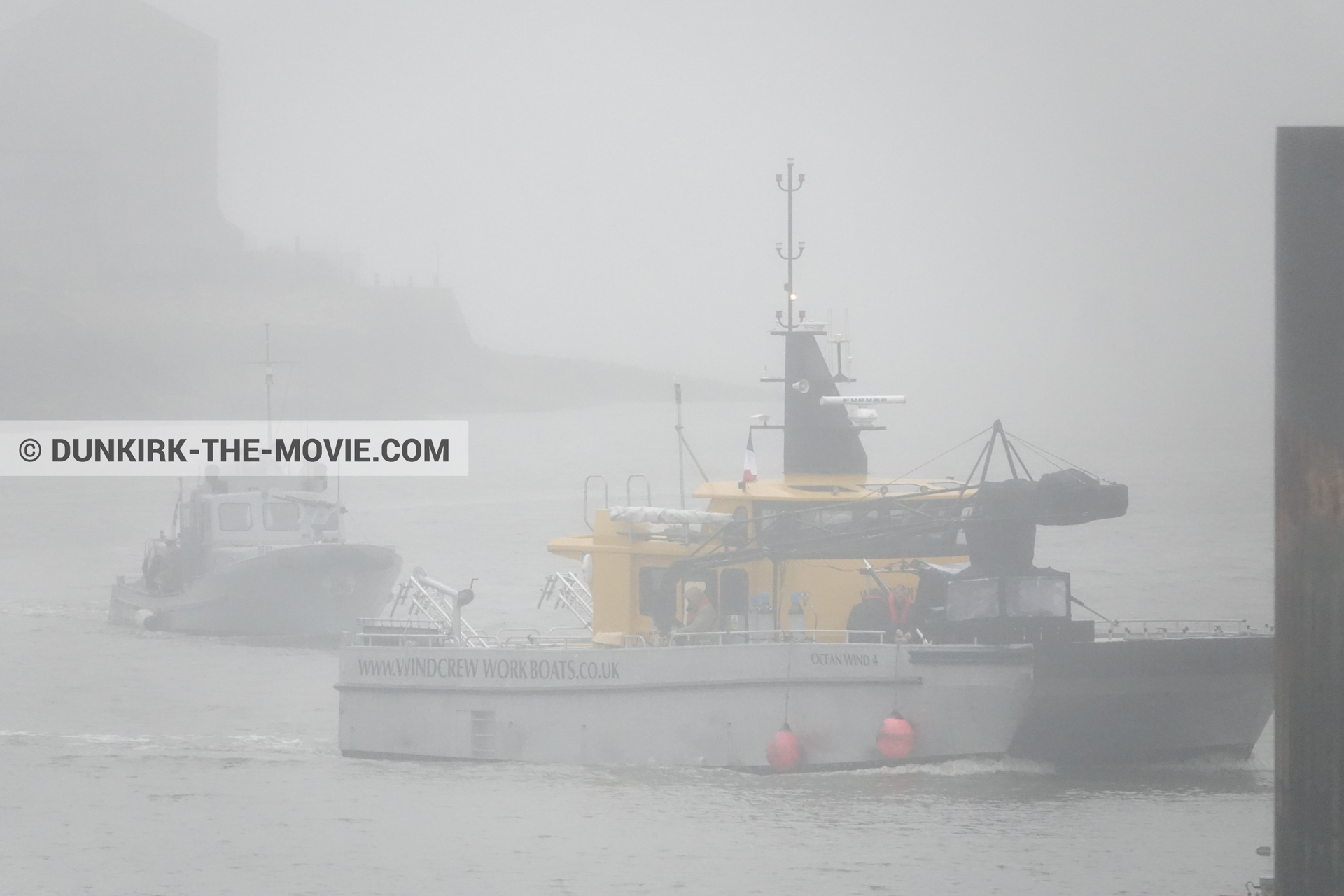 Picture with boat, grey sky, Ocean Wind 4, Dunkirk lighthouse, PR 22,  from behind the scene of the Dunkirk movie by Nolan
