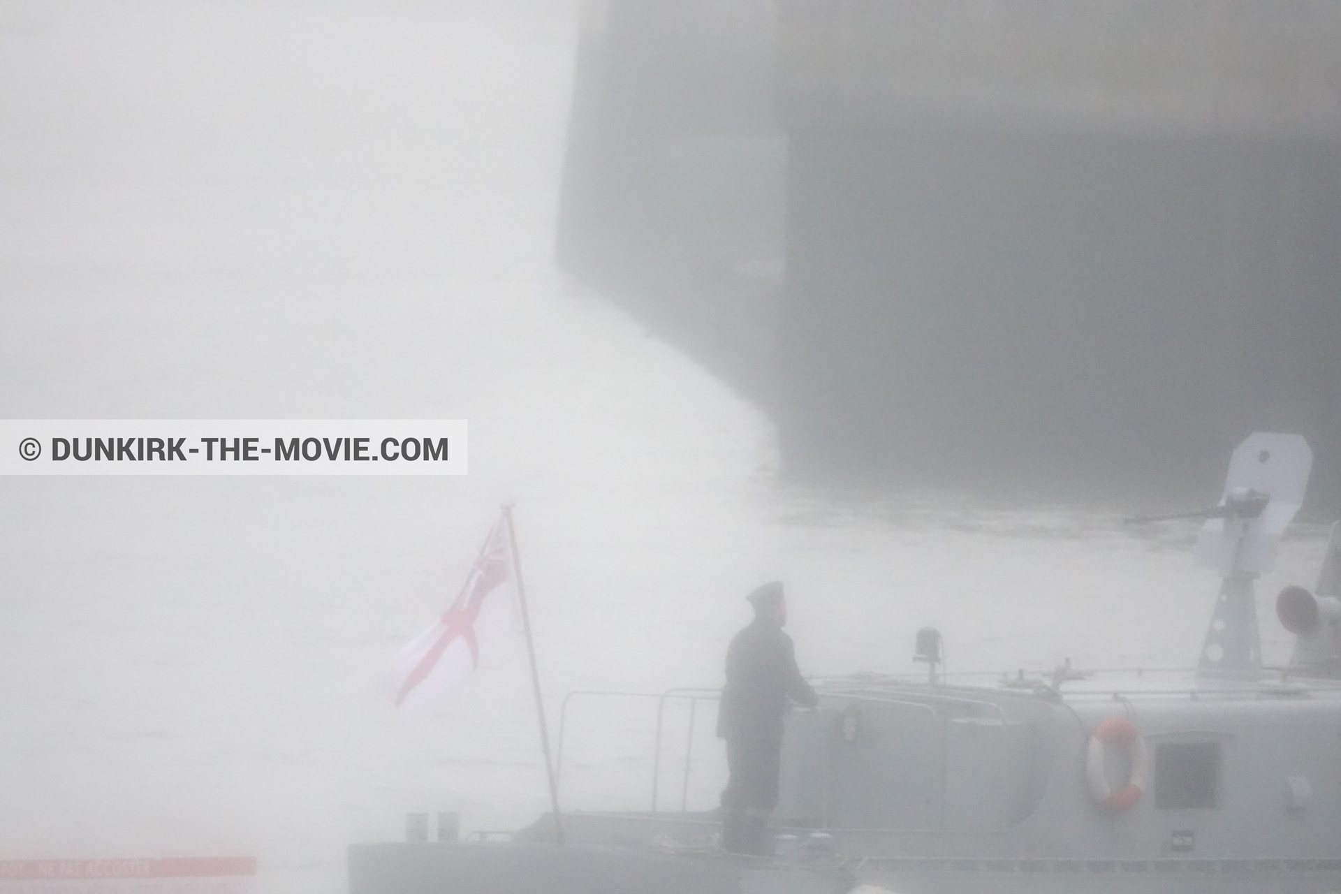 Picture with boat, grey sky, PR 22,  from behind the scene of the Dunkirk movie by Nolan