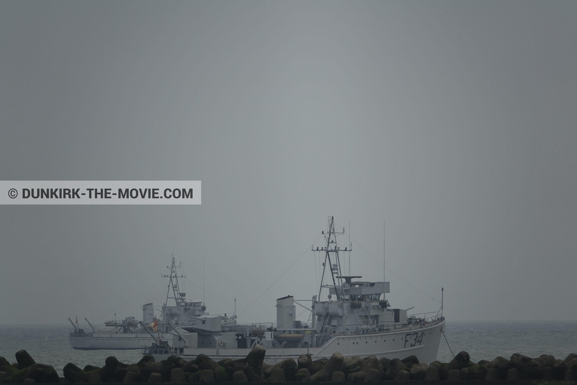 Picture with boat, grey sky, F34 - Hr.Ms. Sittard,  from behind the scene of the Dunkirk movie by Nolan