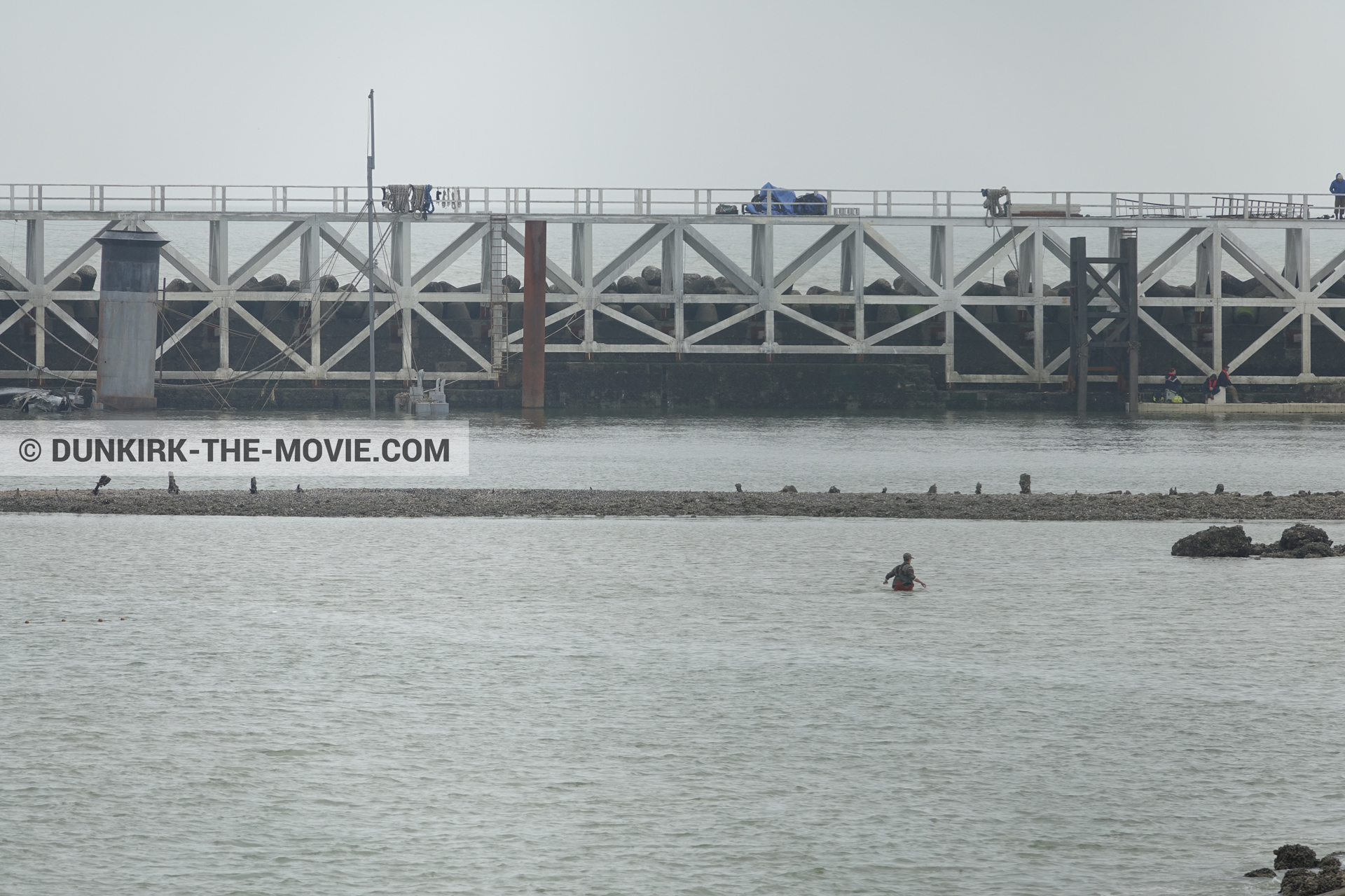 Picture with grey sky, EST pier,  from behind the scene of the Dunkirk movie by Nolan