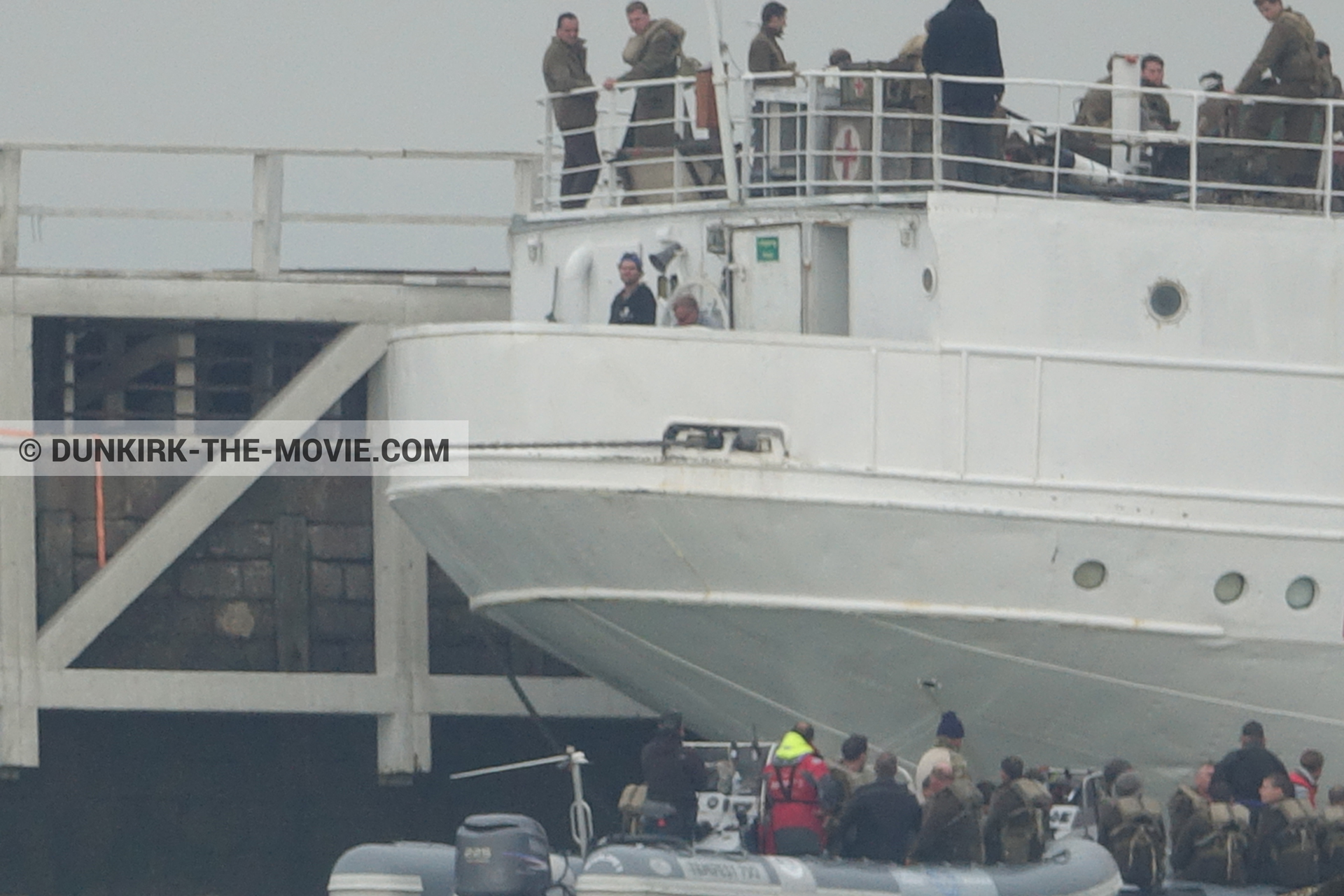 Picture with grey sky, supernumeraries, EST pier, technical team, inflatable dinghy, M/S Rogaland,  from behind the scene of the Dunkirk movie by Nolan