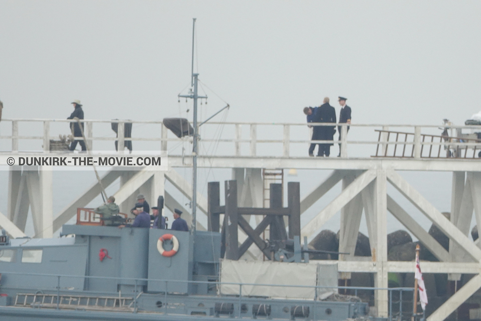 Picture with grey sky, supernumeraries, HMS Medusa - ML1387, EST pier, Kenneth Branagh, technical team,  from behind the scene of the Dunkirk movie by Nolan