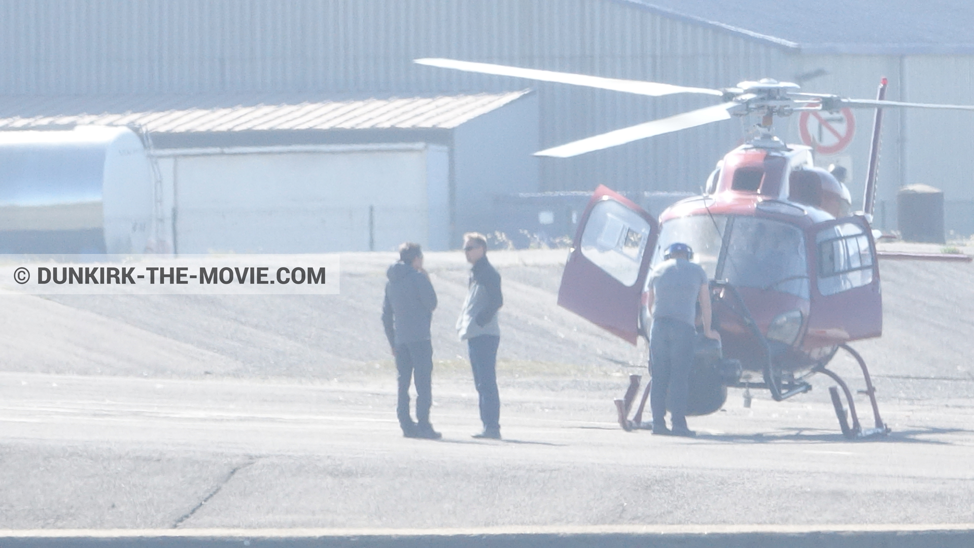 Picture with helicopter camera, technical team,  from behind the scene of the Dunkirk movie by Nolan