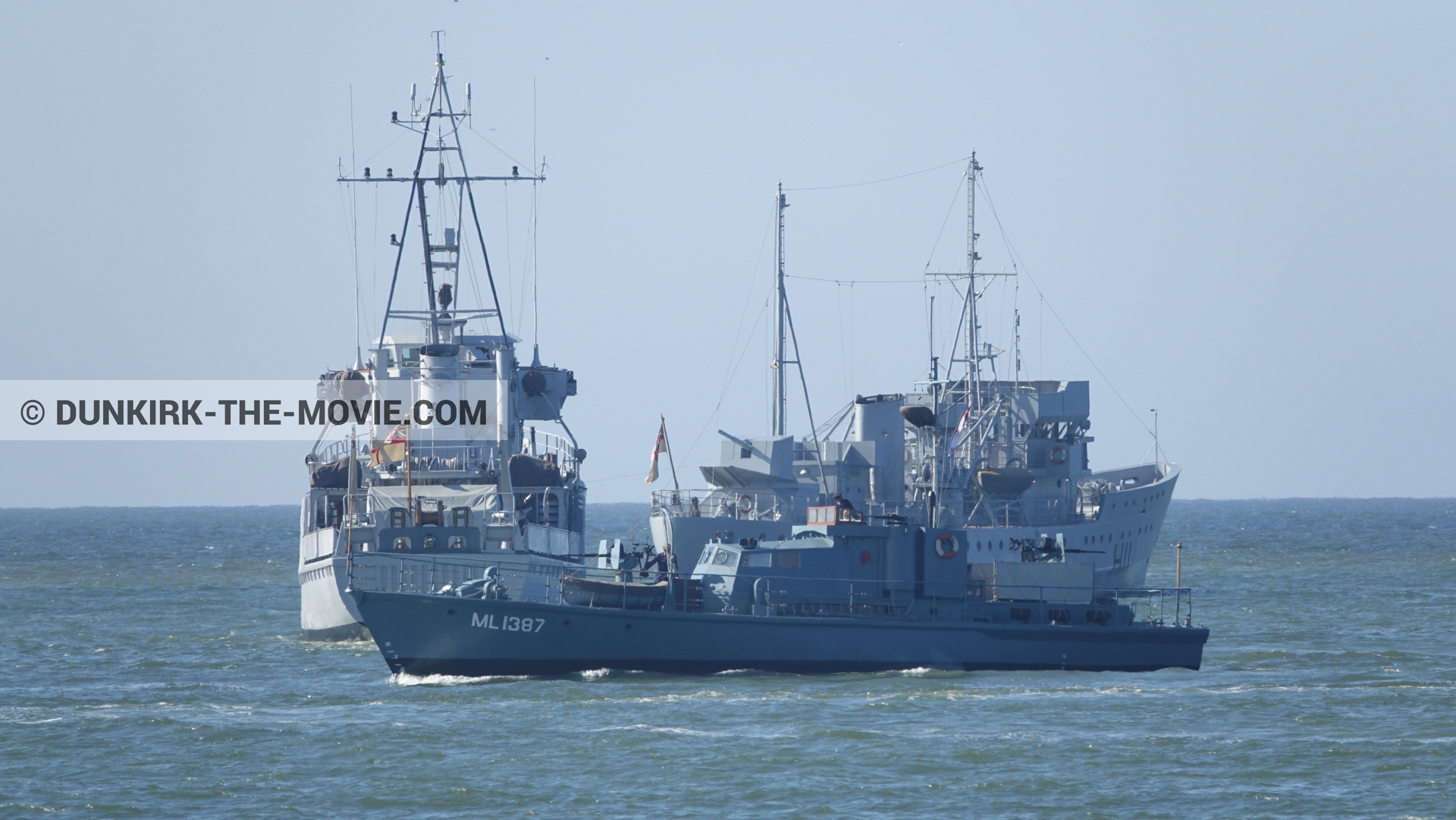 Picture with boat, blue sky, HMS Medusa - ML1387, calm sea,  from behind the scene of the Dunkirk movie by Nolan