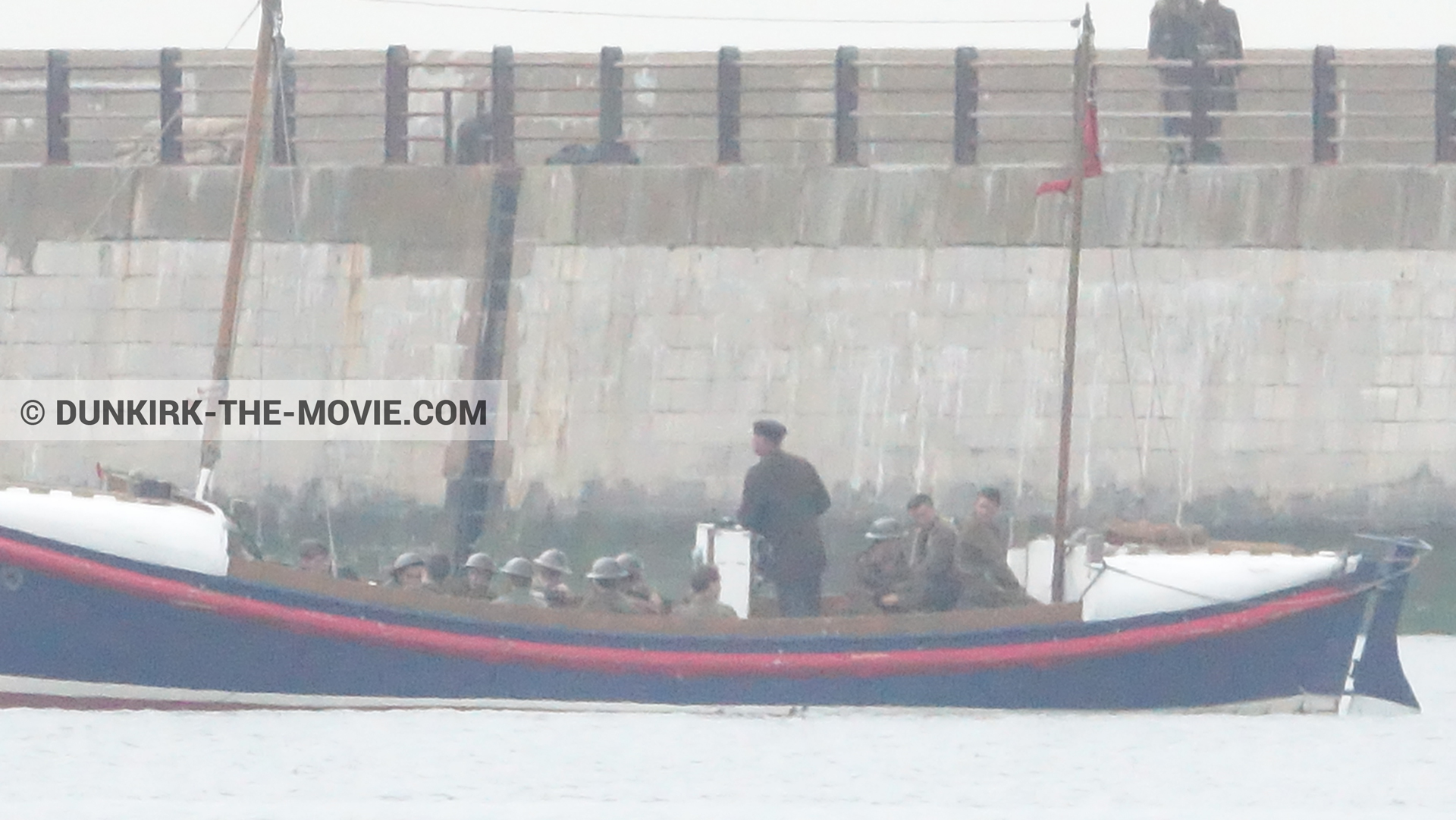 Picture with boat, supernumeraries, EST pier, Henry Finlay lifeboat,  from behind the scene of the Dunkirk movie by Nolan