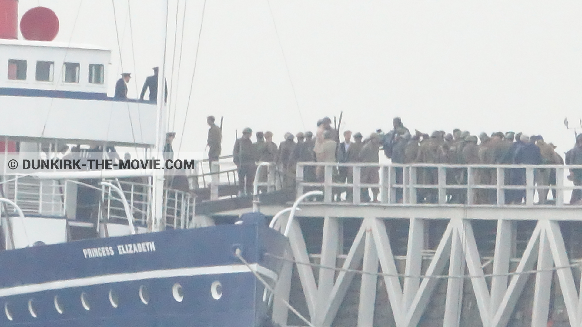 Picture with grey sky, supernumeraries, EST pier, Princess Elizabeth,  from behind the scene of the Dunkirk movie by Nolan