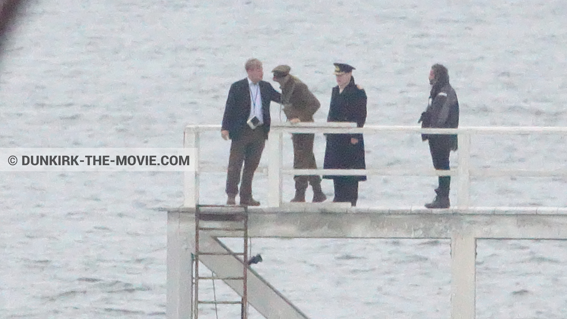 Picture with actor, Hoyte van Hoytema, EST pier, Kenneth Branagh, Christopher Nolan,  from behind the scene of the Dunkirk movie by Nolan