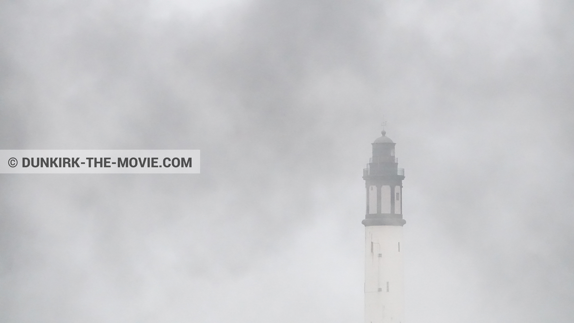 Picture with black smoke, Dunkirk lighthouse,  from behind the scene of the Dunkirk movie by Nolan