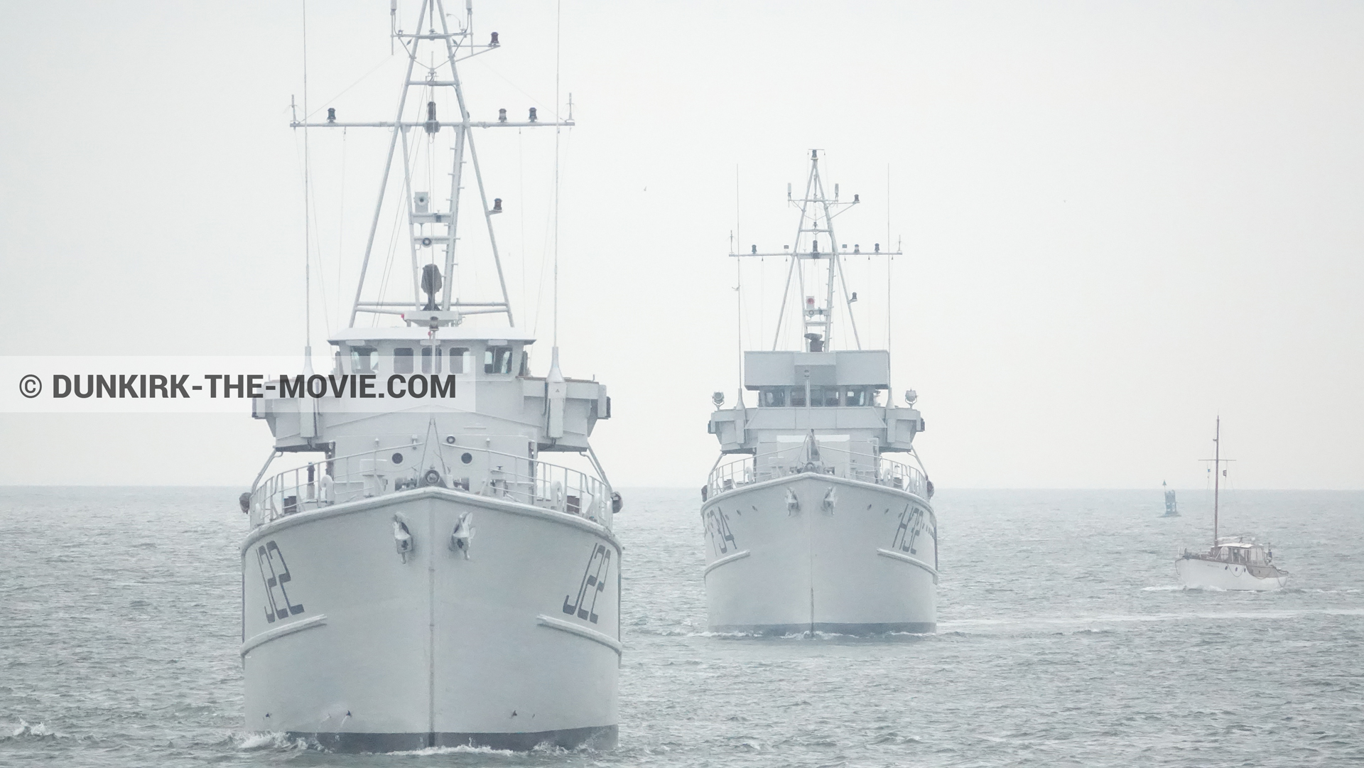 Picture with boat, F34 - Hr.Ms. Sittard, H32 - Hr.Ms. Sittard, J22 -Hr.Ms. Naaldwijk, calm sea,  from behind the scene of the Dunkirk movie by Nolan
