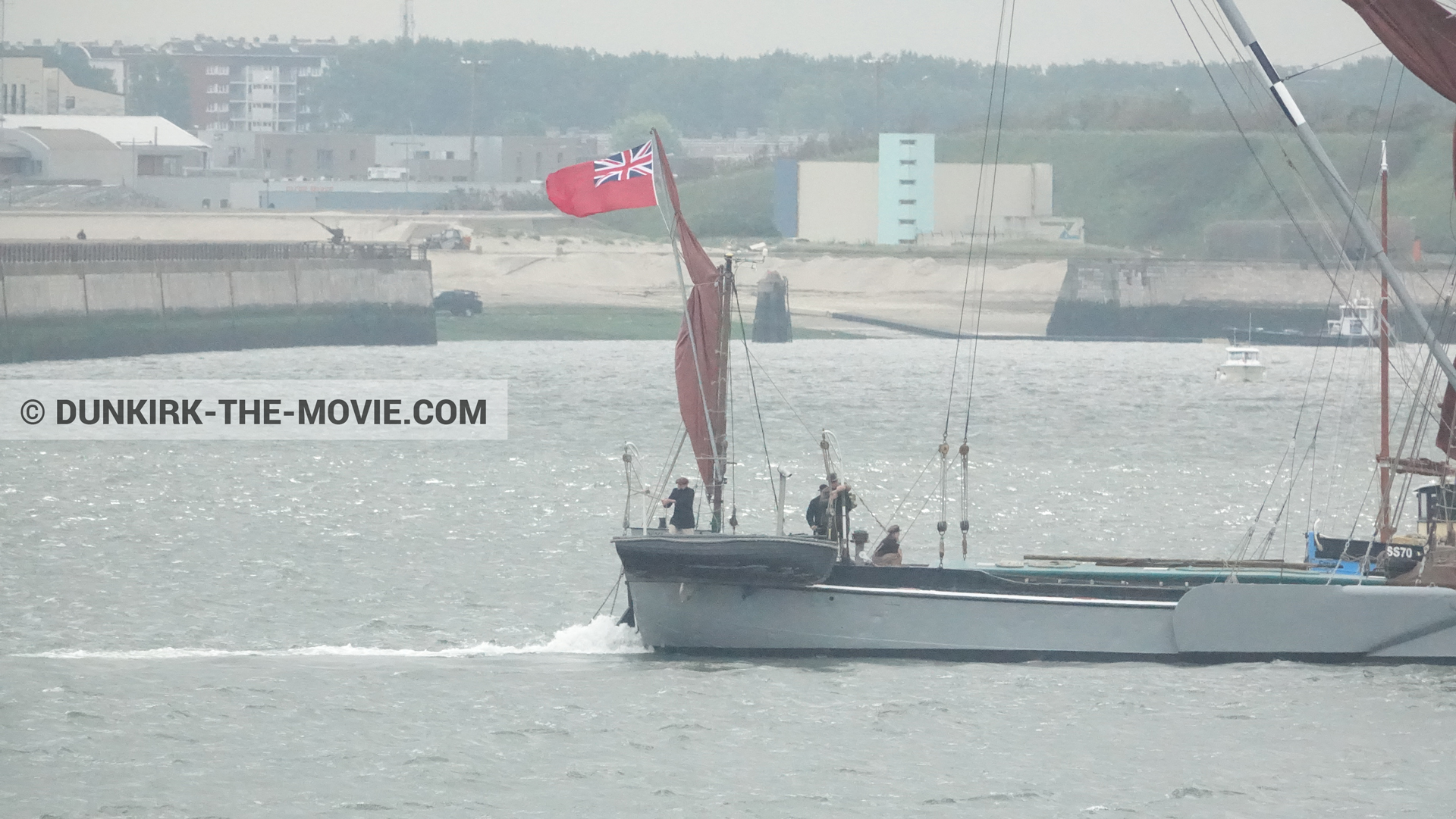 Picture with boat, Xylonite,  from behind the scene of the Dunkirk movie by Nolan