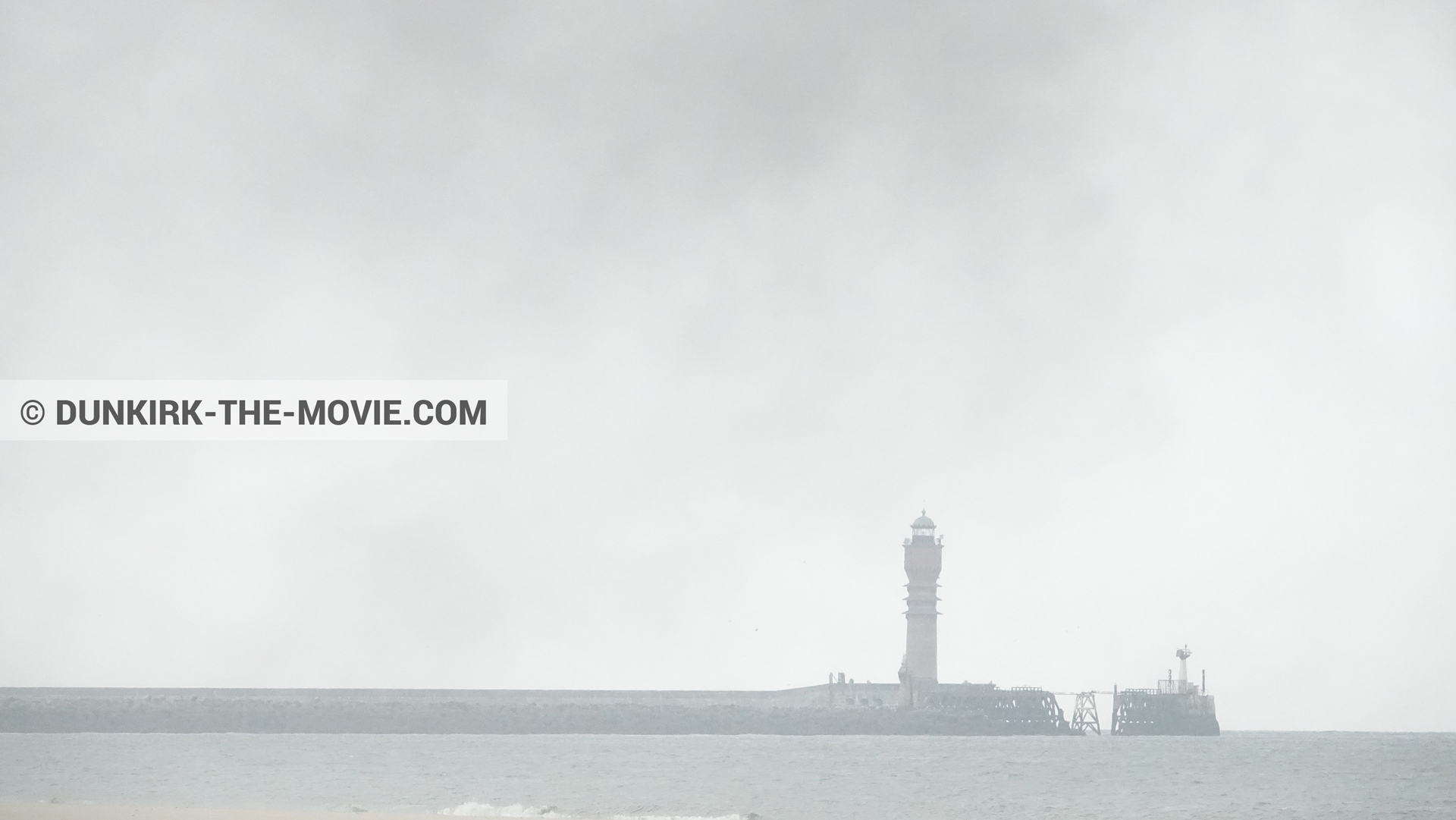 Picture with black smoke, St Pol sur Mer lighthouse,  from behind the scene of the Dunkirk movie by Nolan
