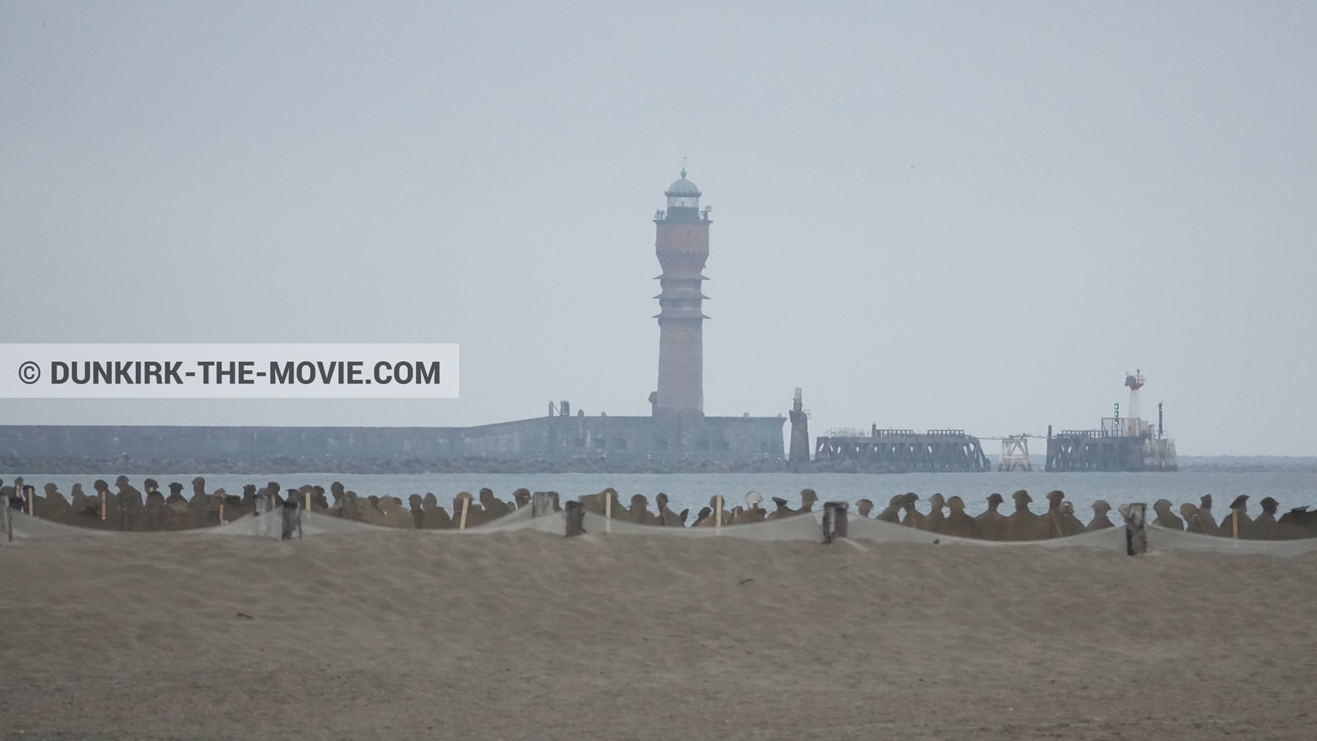 Picture with St Pol sur Mer lighthouse, beach,  from behind the scene of the Dunkirk movie by Nolan