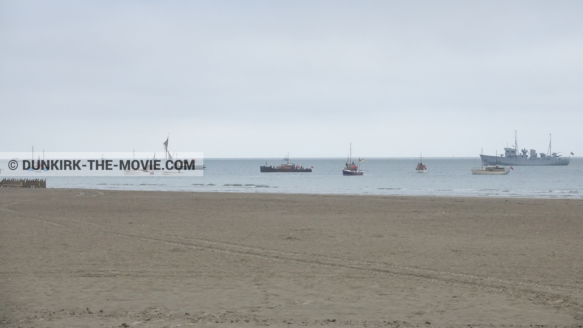 Picture with boat, beach, Xylonite,  from behind the scene of the Dunkirk movie by Nolan