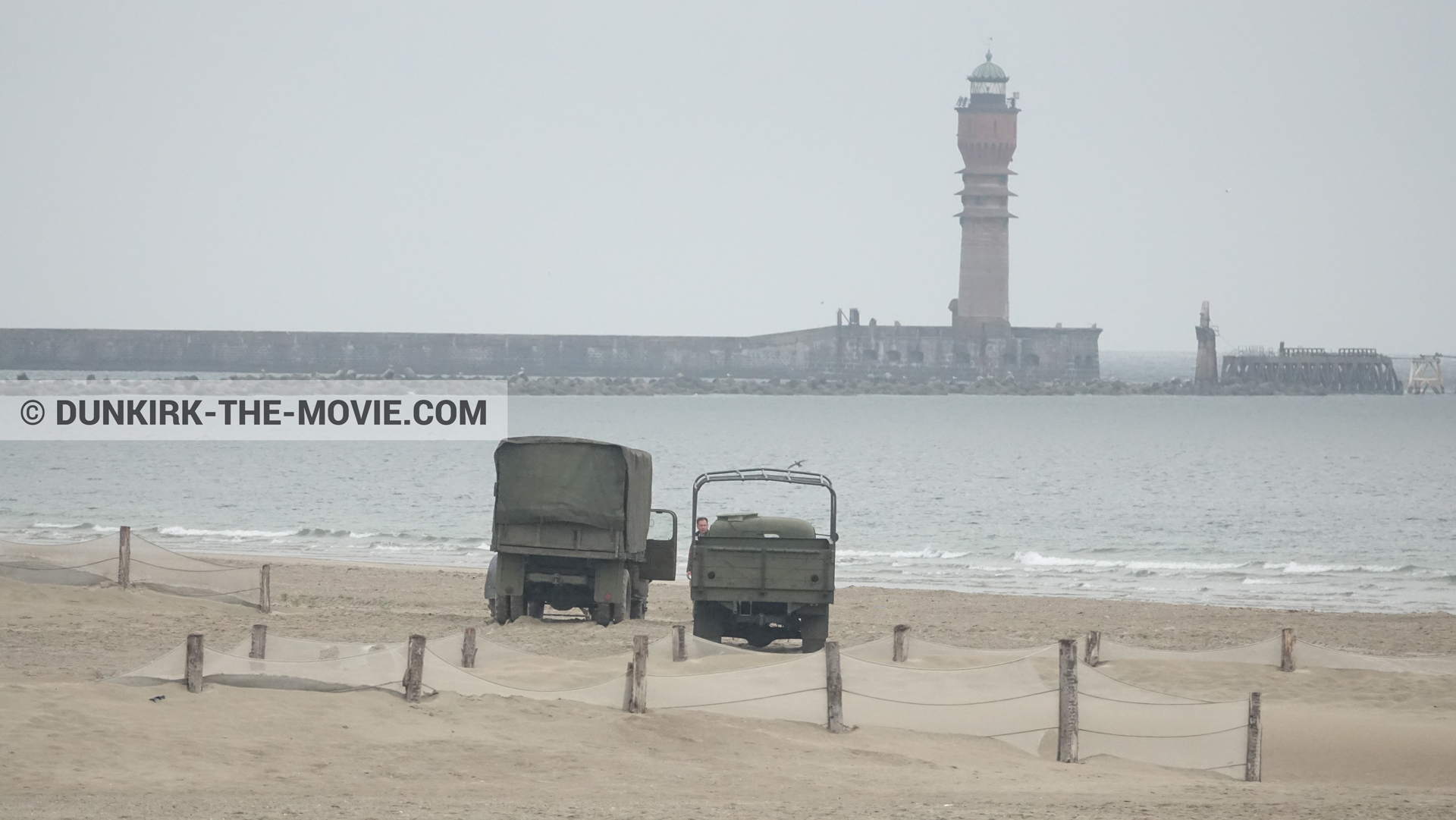 Picture with truck, St Pol sur Mer lighthouse, beach,  from behind the scene of the Dunkirk movie by Nolan
