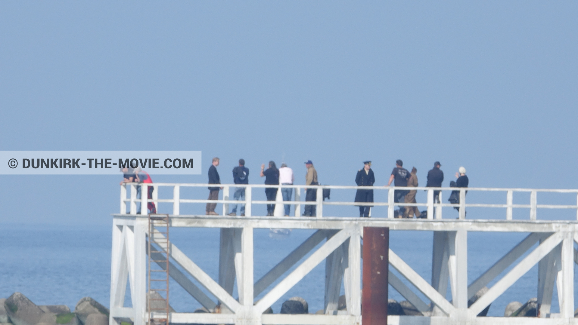 Picture with actor, EST pier, Christopher Nolan, technical team,  from behind the scene of the Dunkirk movie by Nolan