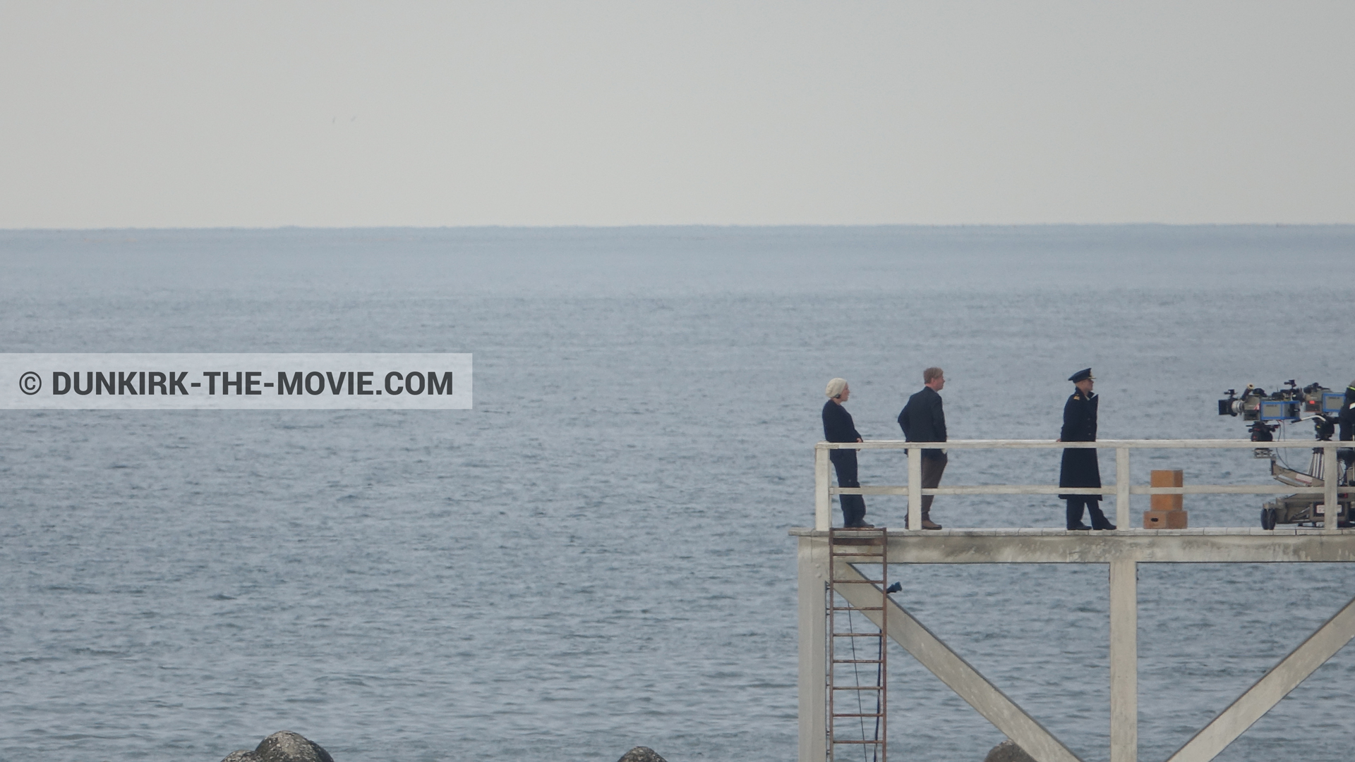 Picture with actor, IMAX camera, EST pier, Christopher Nolan, Emma Thomas,  from behind the scene of the Dunkirk movie by Nolan