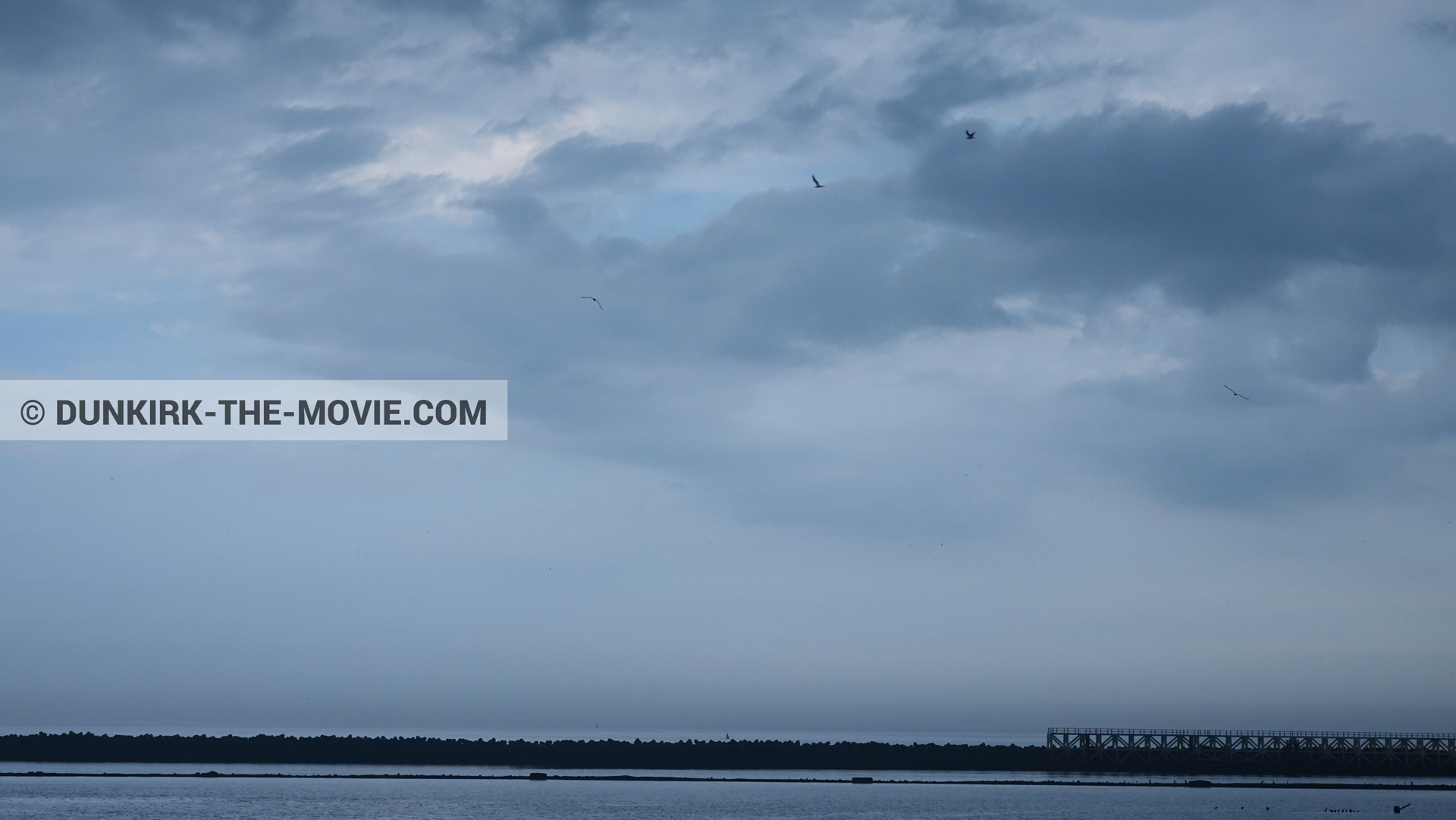Picture with cloudy sky, EST pier,  from behind the scene of the Dunkirk movie by Nolan