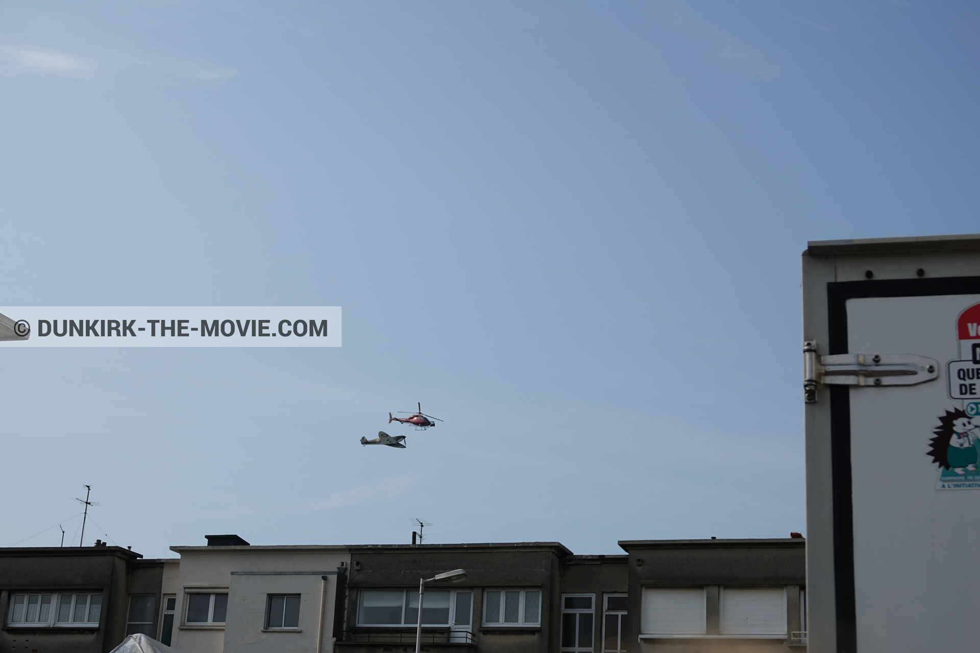 Picture with plane, helicopter camera, Malo les Bains, blue sky,  from behind the scene of the Dunkirk movie by Nolan