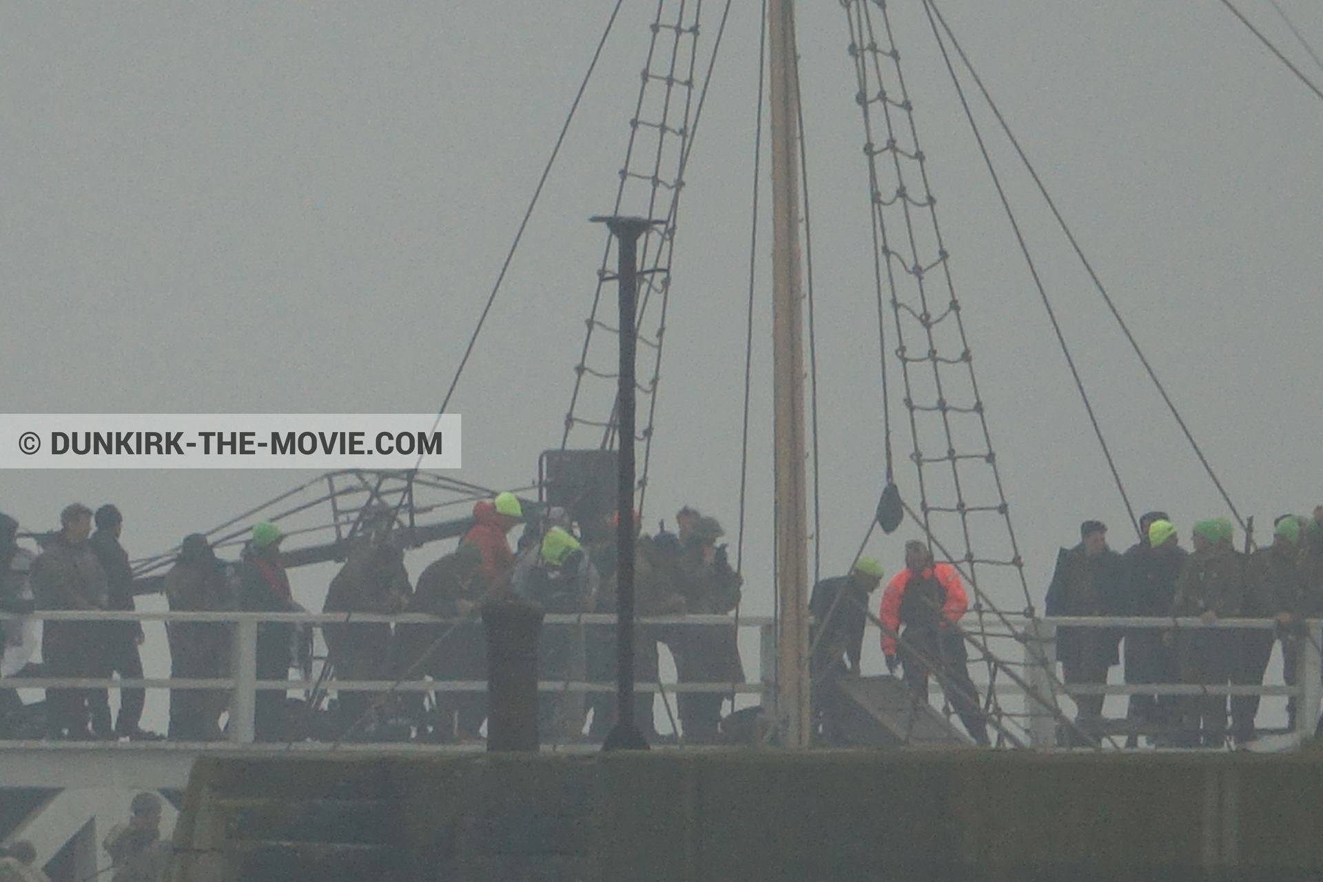 Picture with grey sky, supernumeraries, EST pier, technical team, M/S Rogaland,  from behind the scene of the Dunkirk movie by Nolan