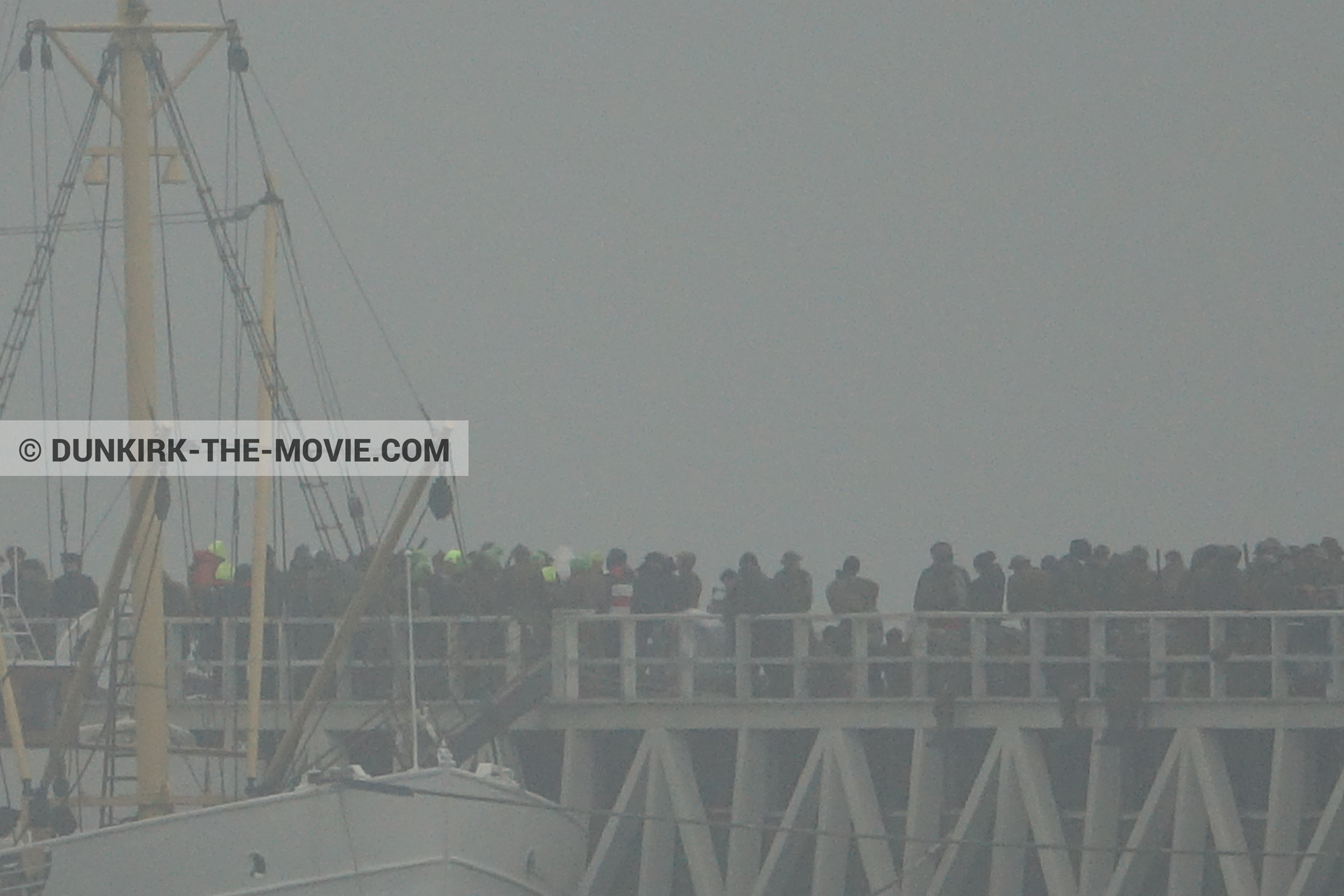 Picture with grey sky, supernumeraries, EST pier, M/S Rogaland,  from behind the scene of the Dunkirk movie by Nolan