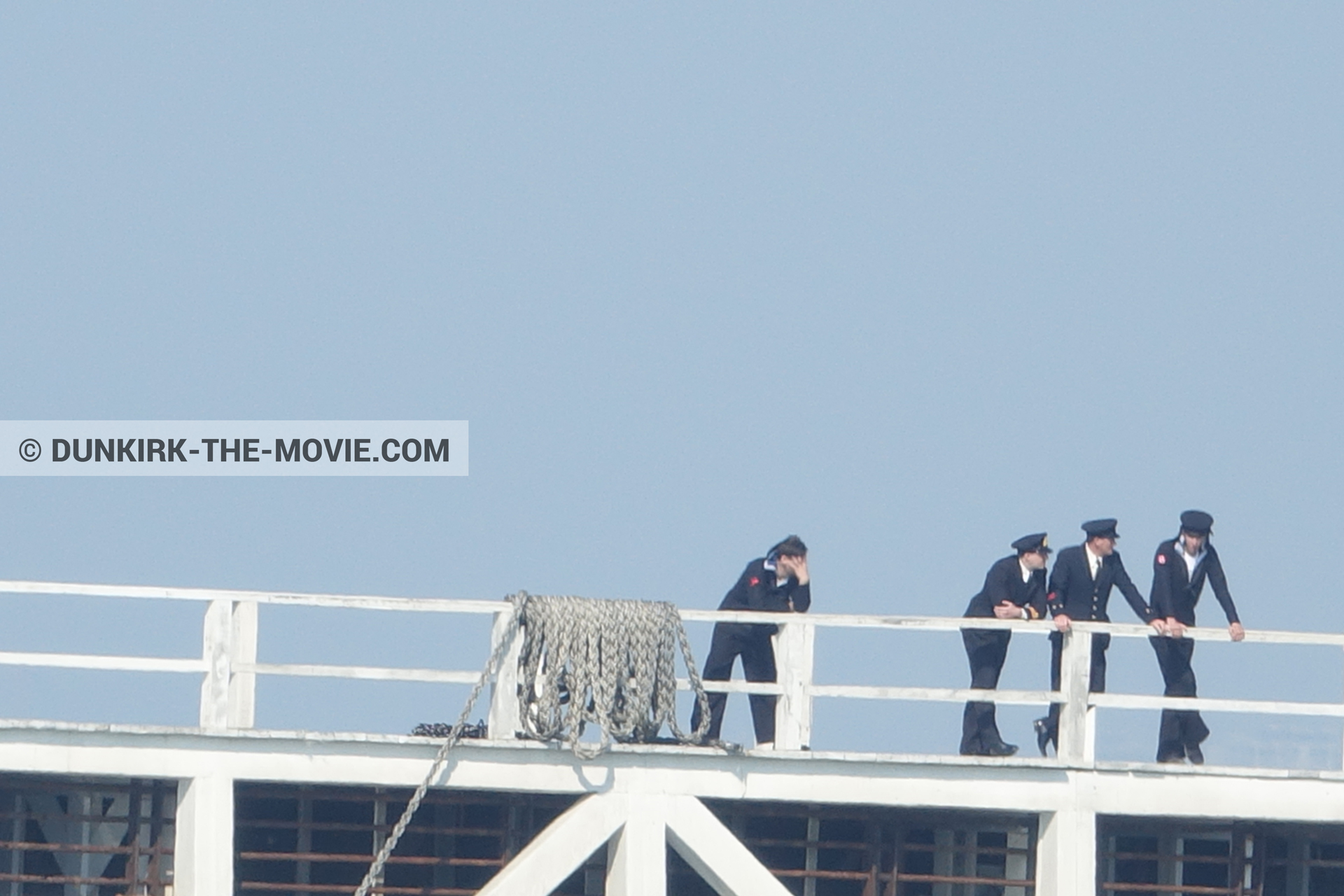 Picture with blue sky, supernumeraries, EST pier,  from behind the scene of the Dunkirk movie by Nolan