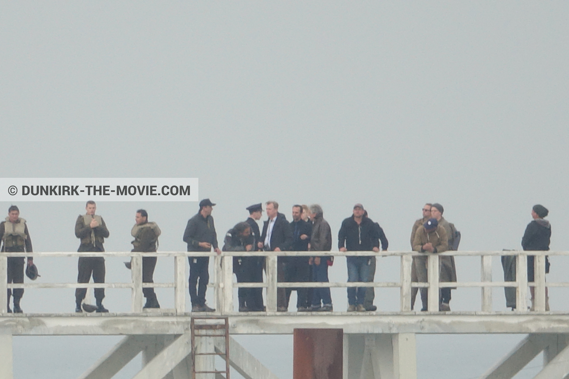 Picture with grey sky, supernumeraries, Hoyte van Hoytema, EST pier, Christopher Nolan, technical team, Nilo Otero,  from behind the scene of the Dunkirk movie by Nolan