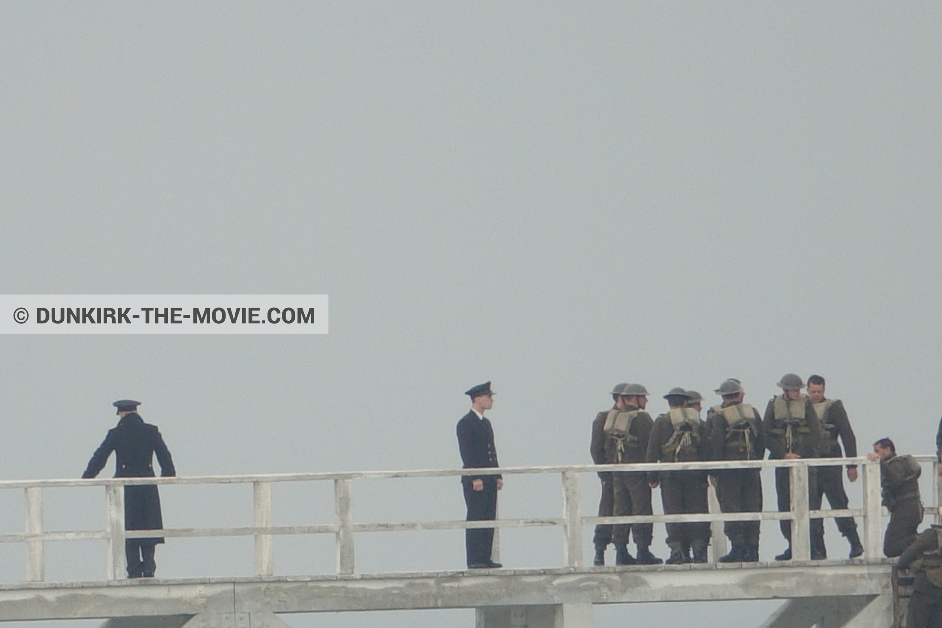 Picture with actor, grey sky, supernumeraries, EST pier, Kenneth Branagh,  from behind the scene of the Dunkirk movie by Nolan