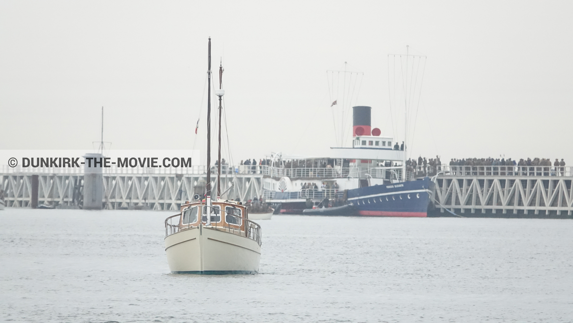 Picture with boat, EST pier, Princess Elizabeth,  from behind the scene of the Dunkirk movie by Nolan