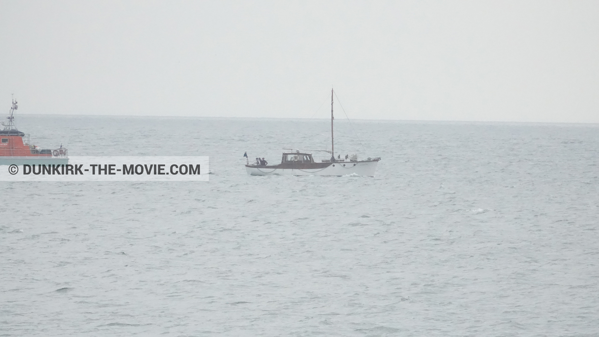 Picture with boat, Moonstone,  from behind the scene of the Dunkirk movie by Nolan