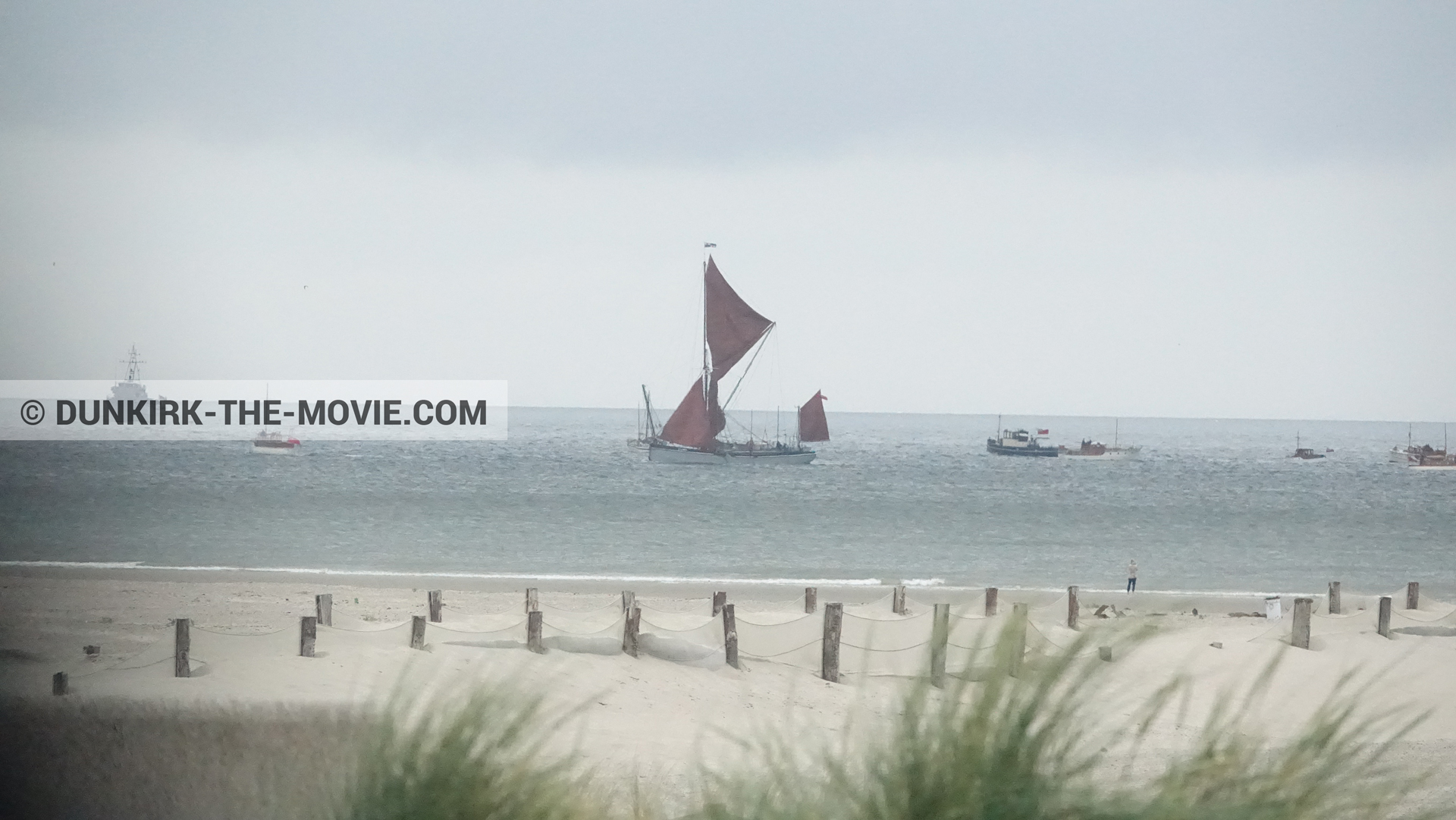 Picture with boat, grey sky, beach, Henry Finlay lifeboat,  from behind the scene of the Dunkirk movie by Nolan