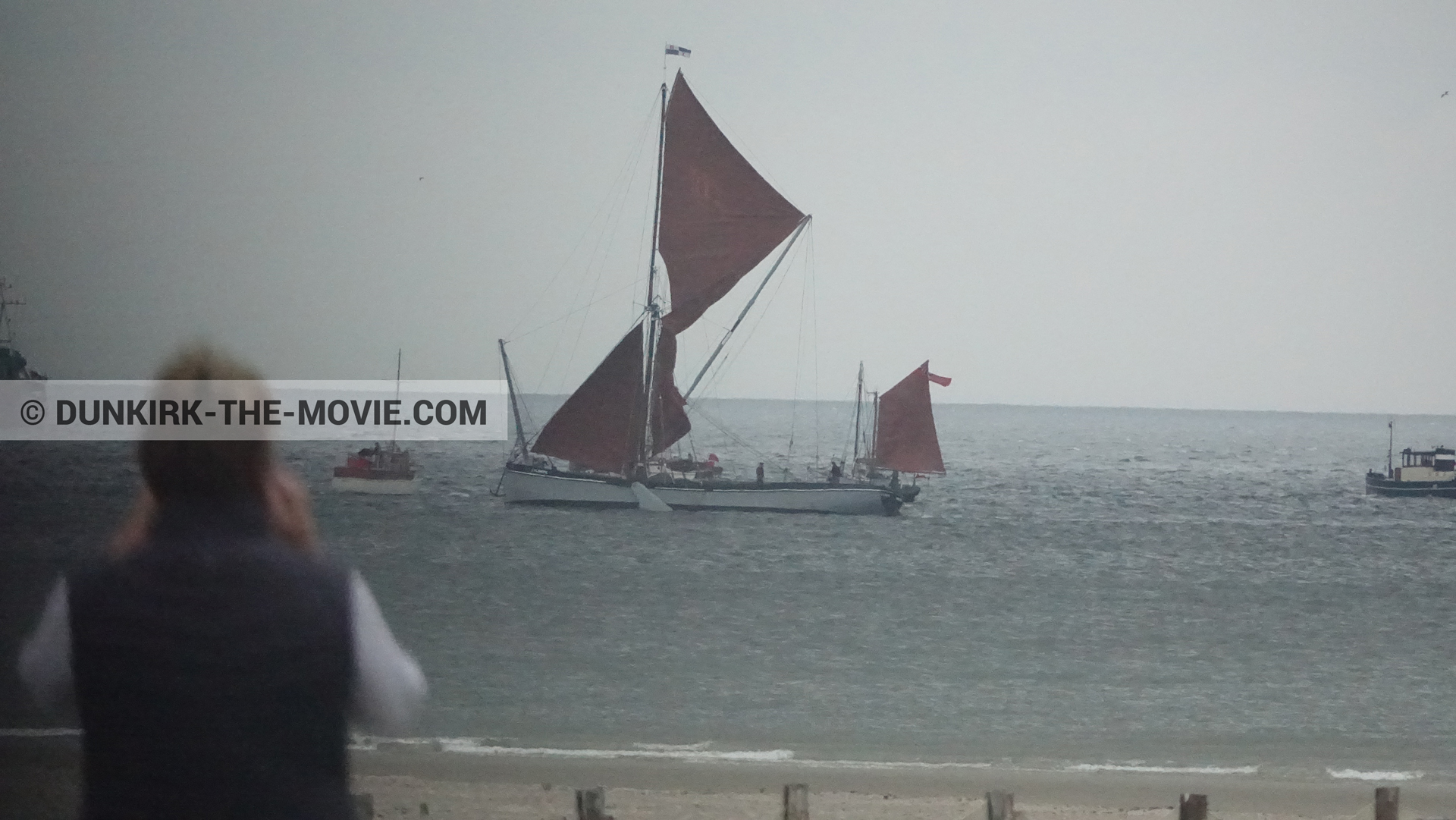 Picture with boat, grey sky, Xylonite,  from behind the scene of the Dunkirk movie by Nolan