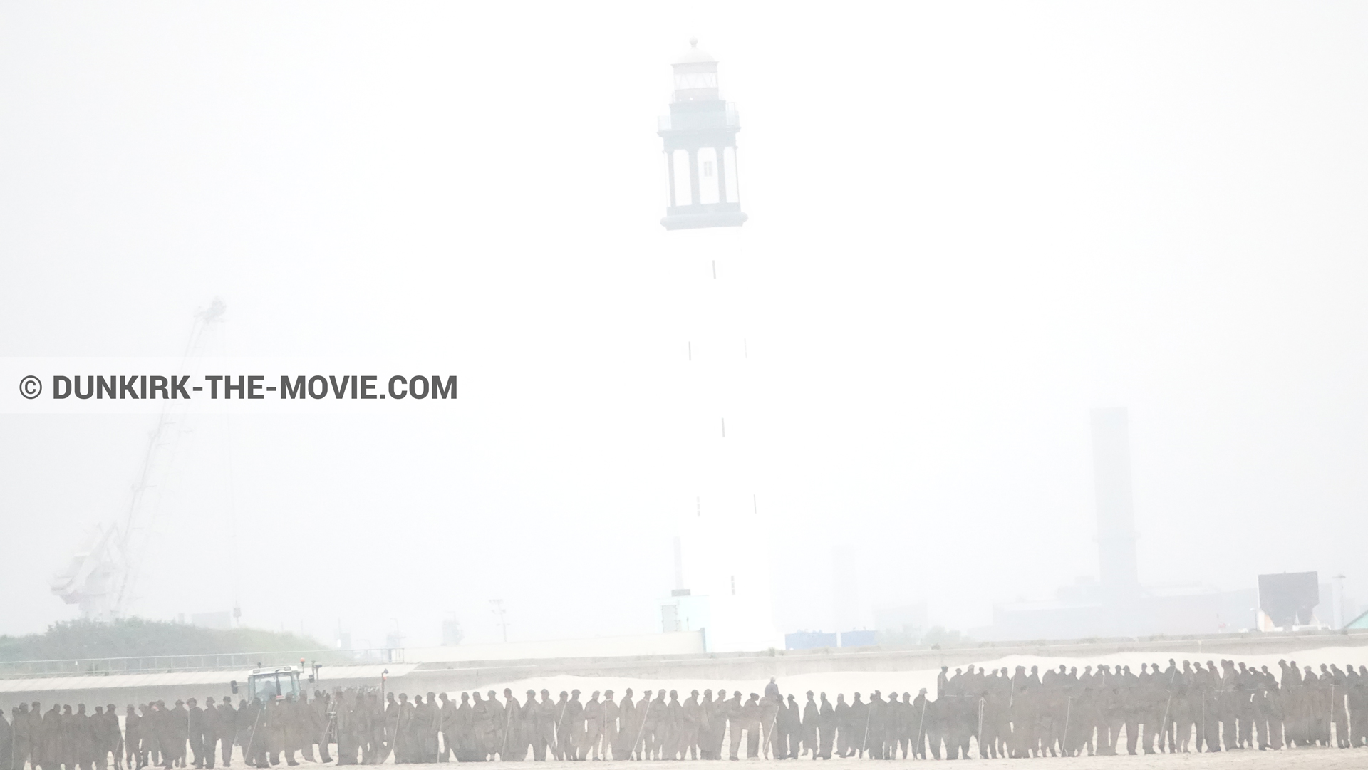 Picture with decor, white smoke, Dunkirk lighthouse,  from behind the scene of the Dunkirk movie by Nolan